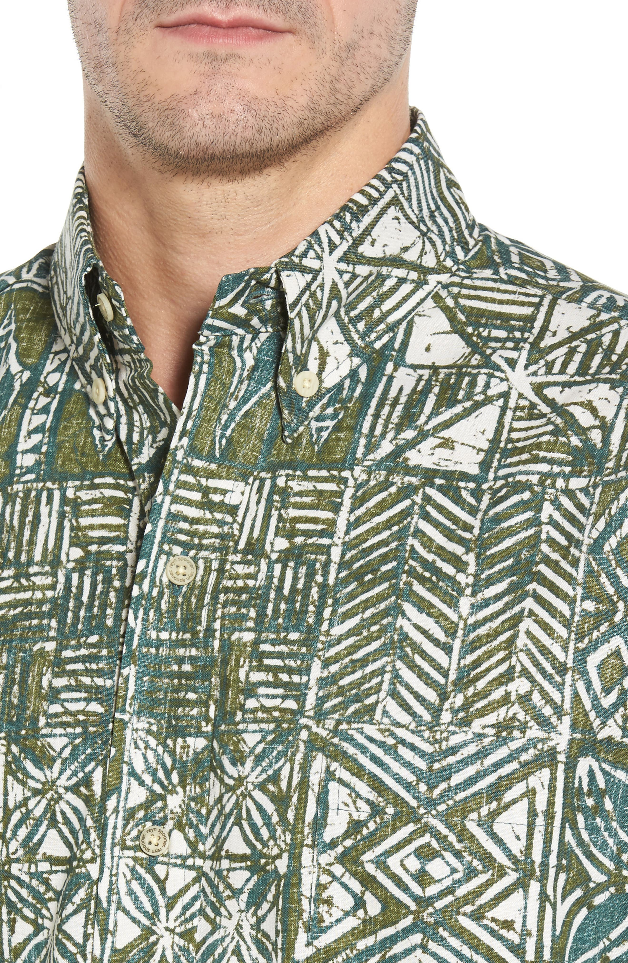 Leho Kapa Classic Fit Sport Shirt,                             Alternate thumbnail 4, color,                             Moss