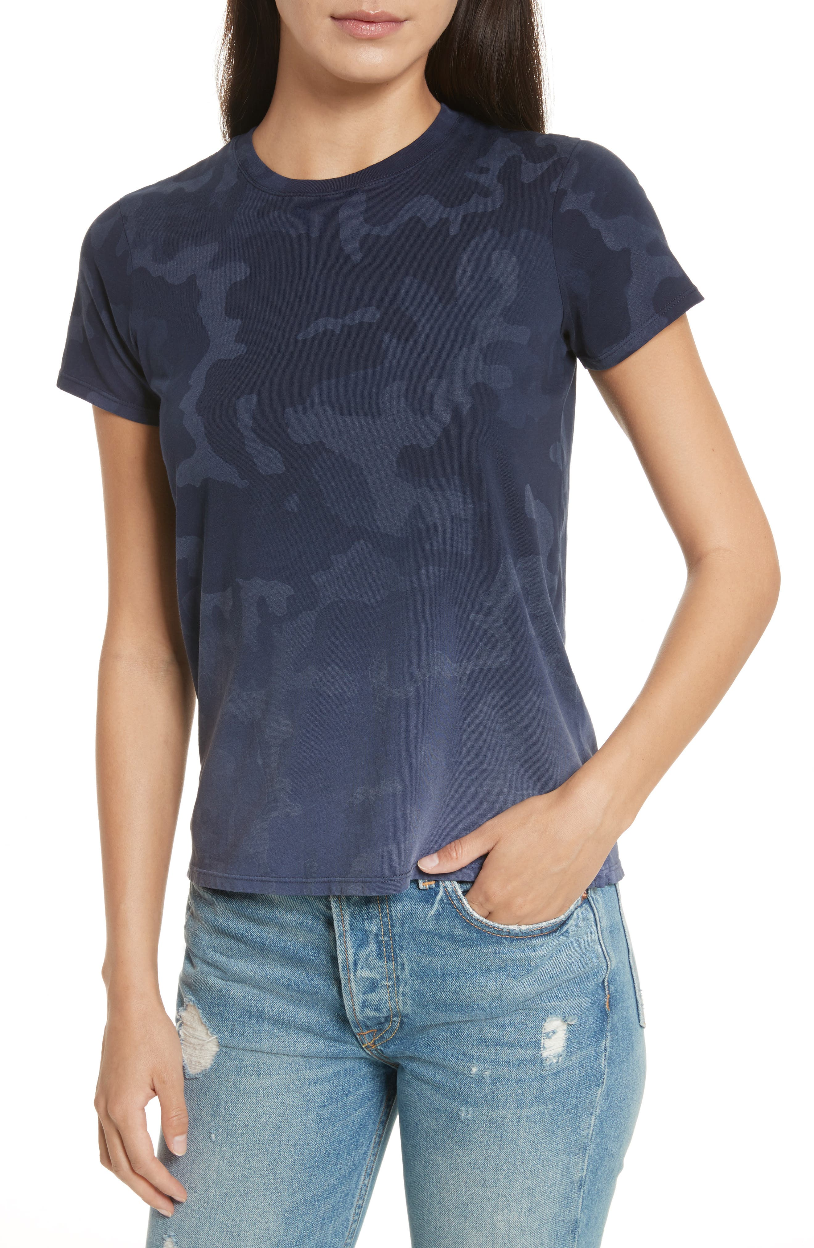 Camouflage Print Cotton Tee,                             Main thumbnail 1, color,                             Blue Camo