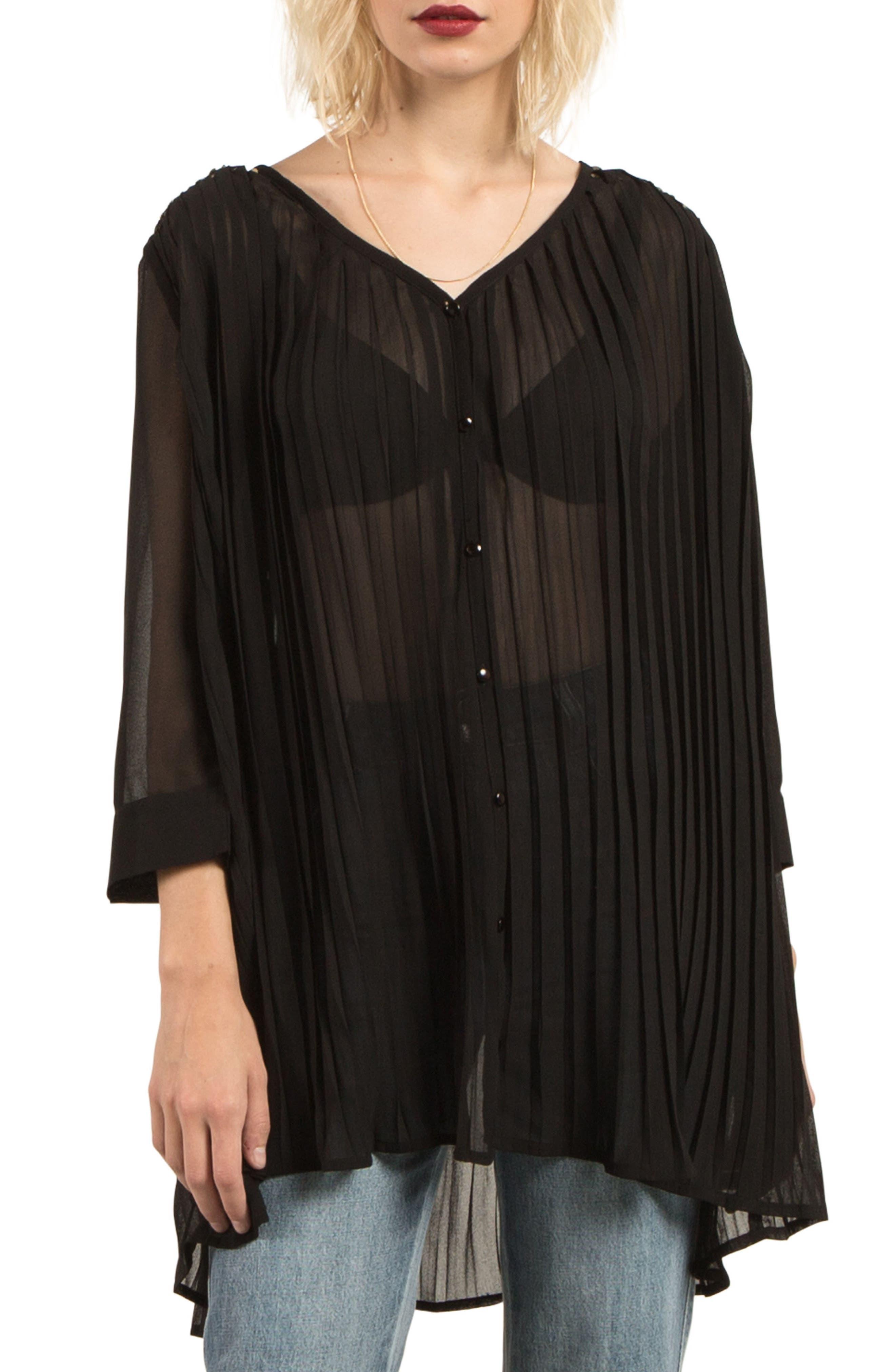 Pleat Down Tunic Top,                         Main,                         color, Black