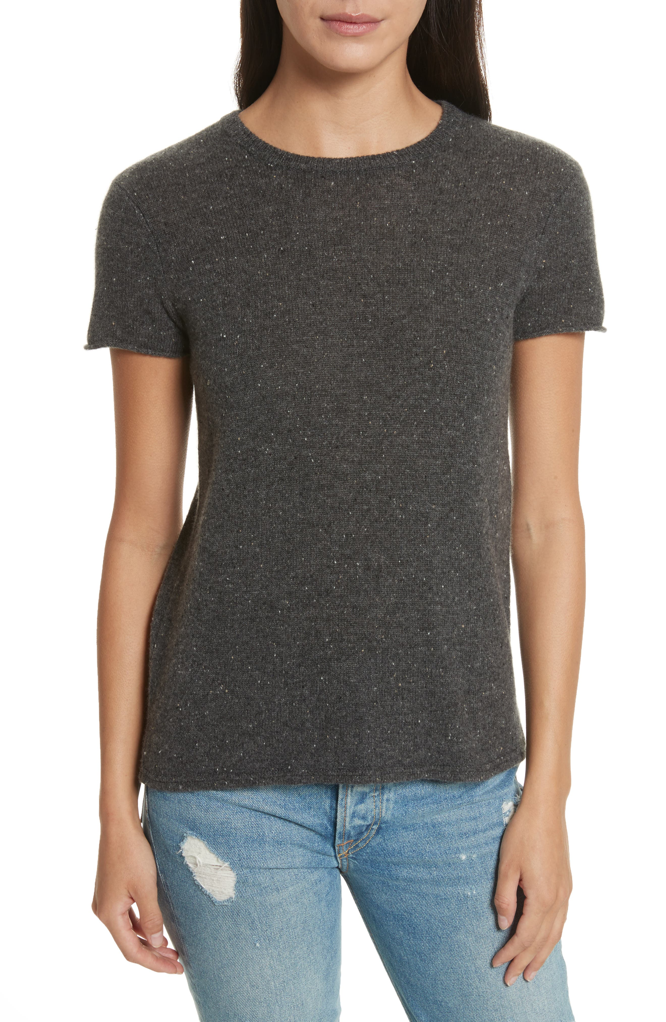 Donegal Cashmere Schoolboy Tee,                         Main,                         color, Shale
