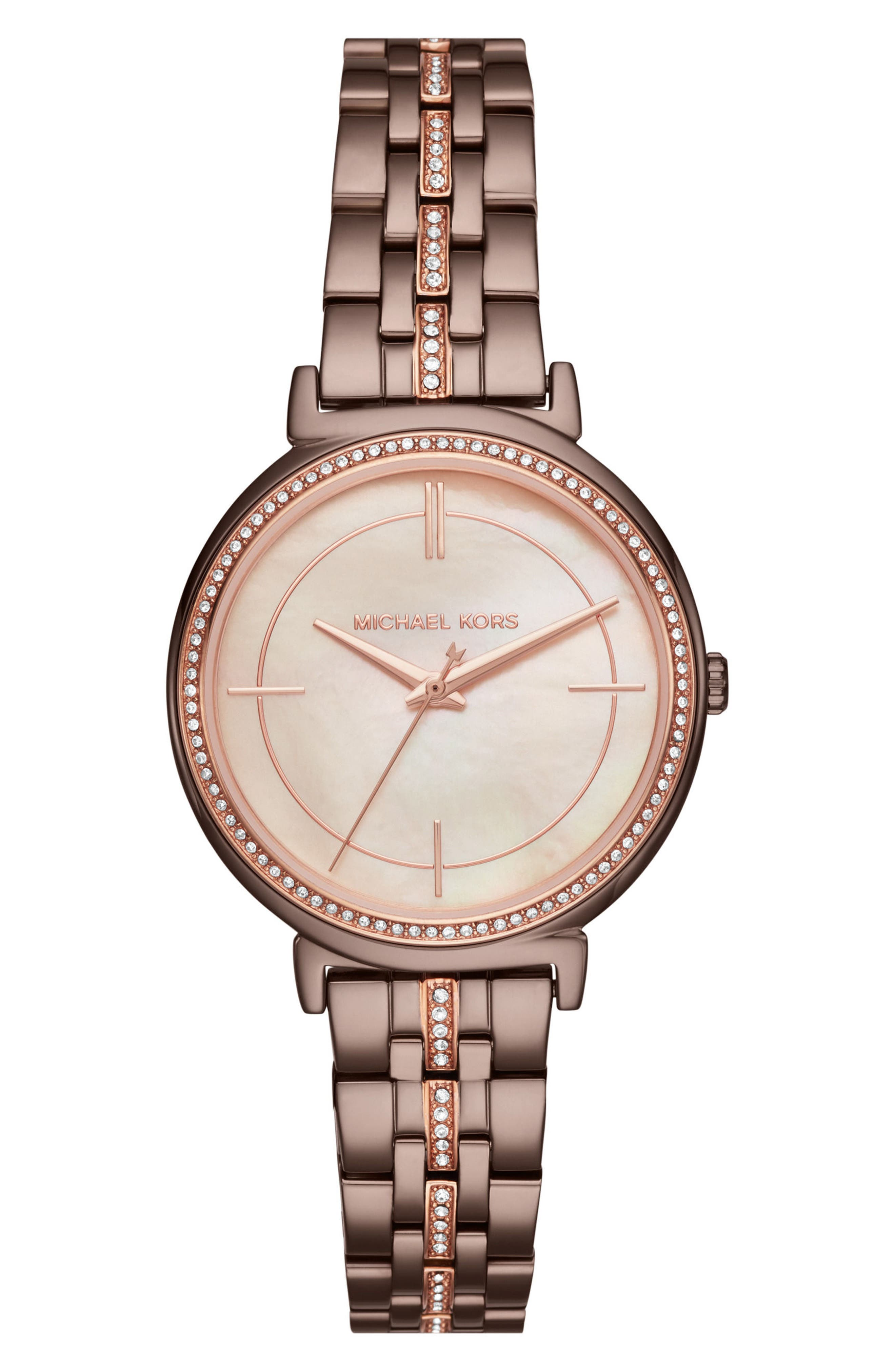 Cinthia Crystal Bracelet Watch, 33mm,                             Main thumbnail 1, color,                             Brown/ Rose Gold