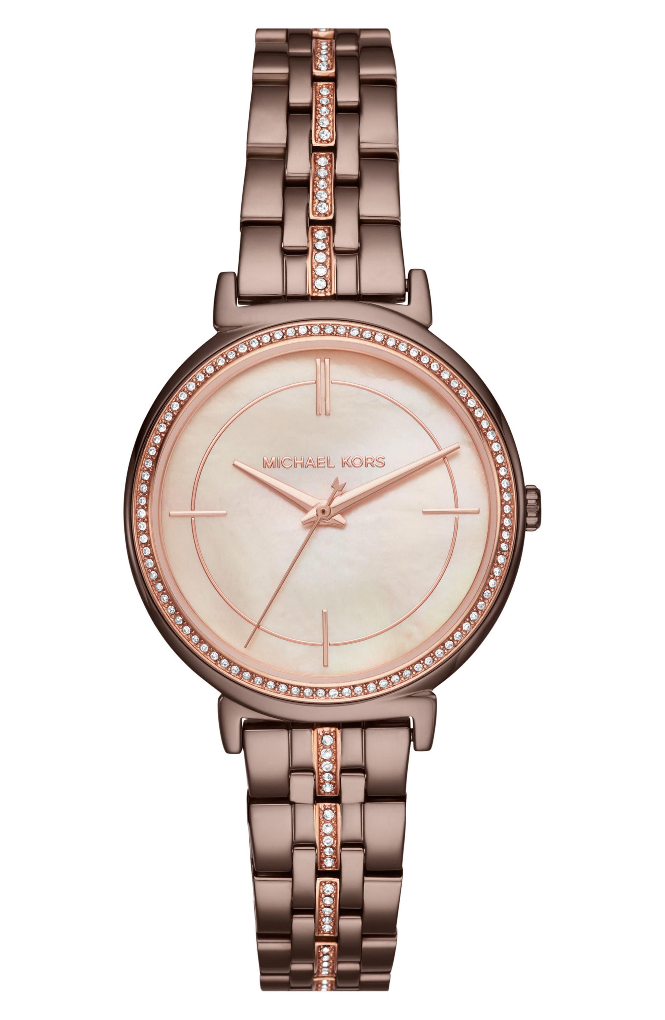 Main Image - Michael Kors Cinthia Crystal Bracelet Watch, 33mm