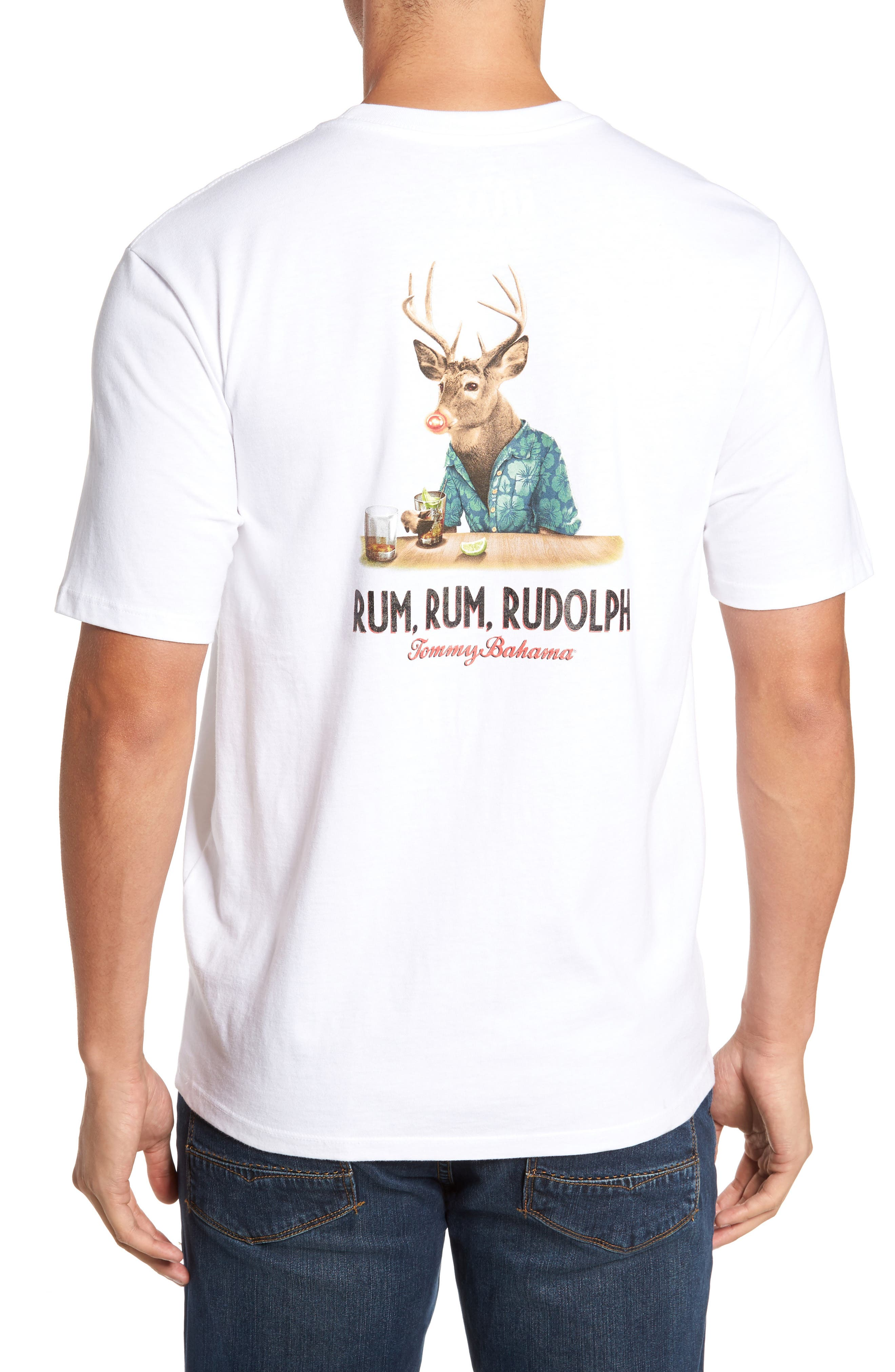 Rum Rum Rudolph T-Shirt,                             Main thumbnail 1, color,                             White