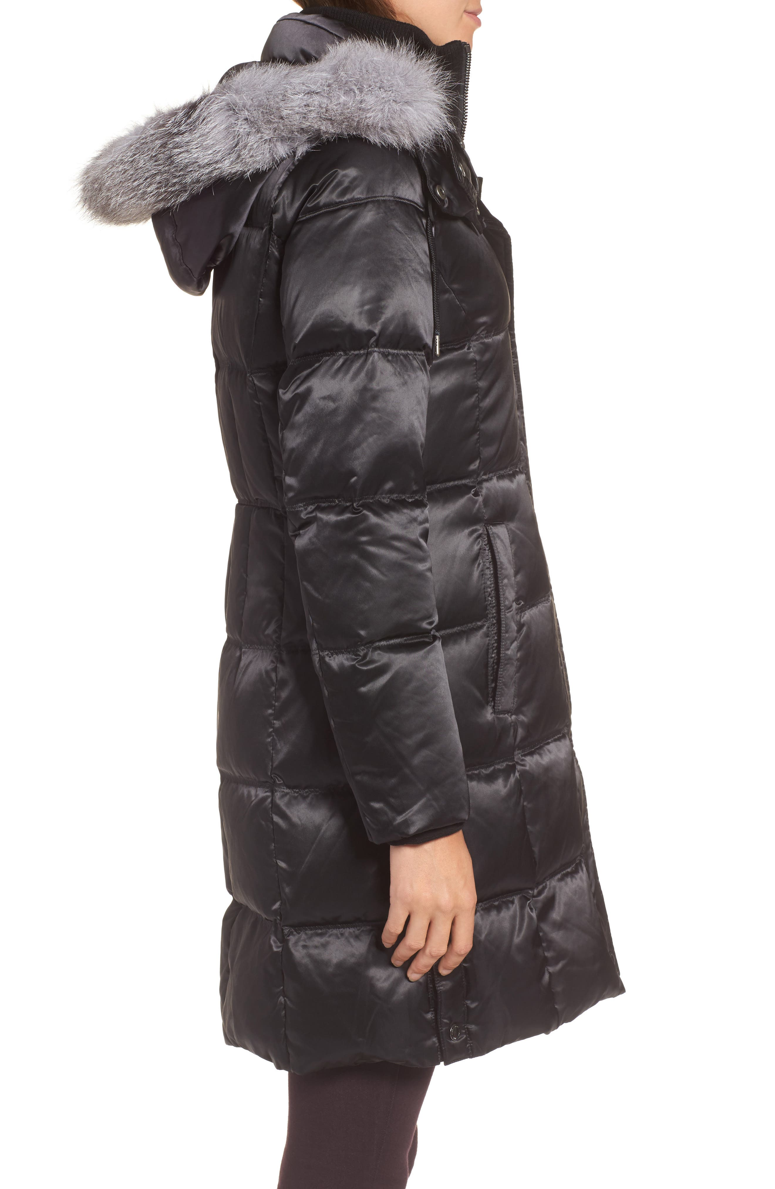 Hooded Down Jacket with Genuine Fox Fur Trim,                             Alternate thumbnail 3, color,                             Black