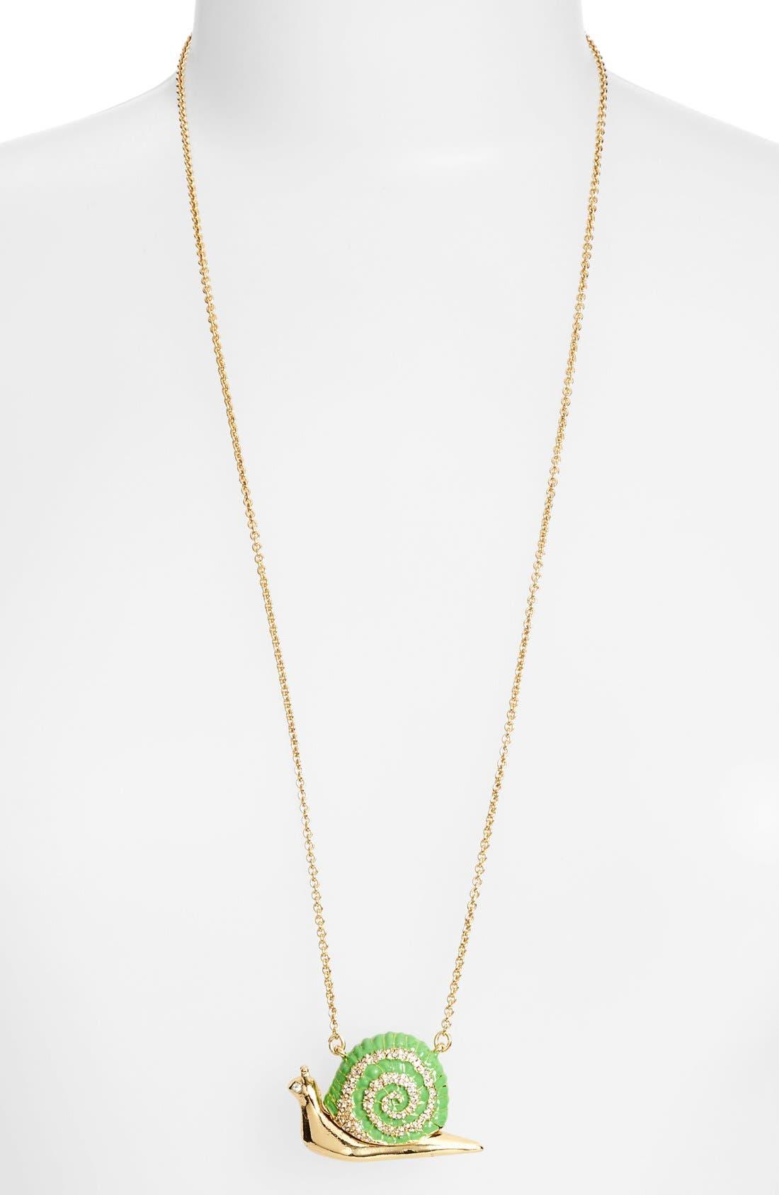 'lawn party' long snail pendant necklace,                             Alternate thumbnail 2, color,                             Green Multi