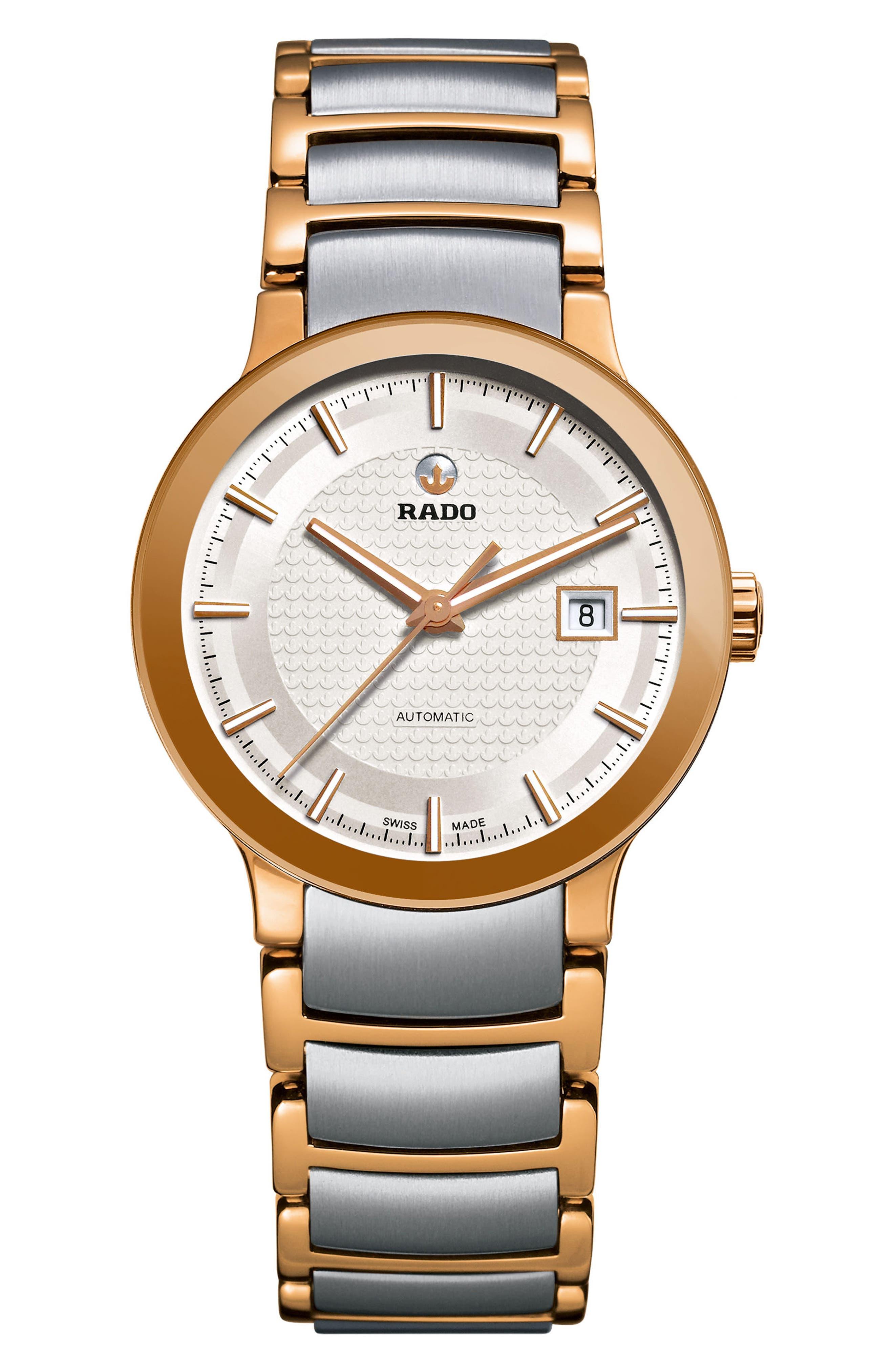 Centrix Automatic Bracelet Watch, 28mm,                         Main,                         color, Rose Gold/ Silver