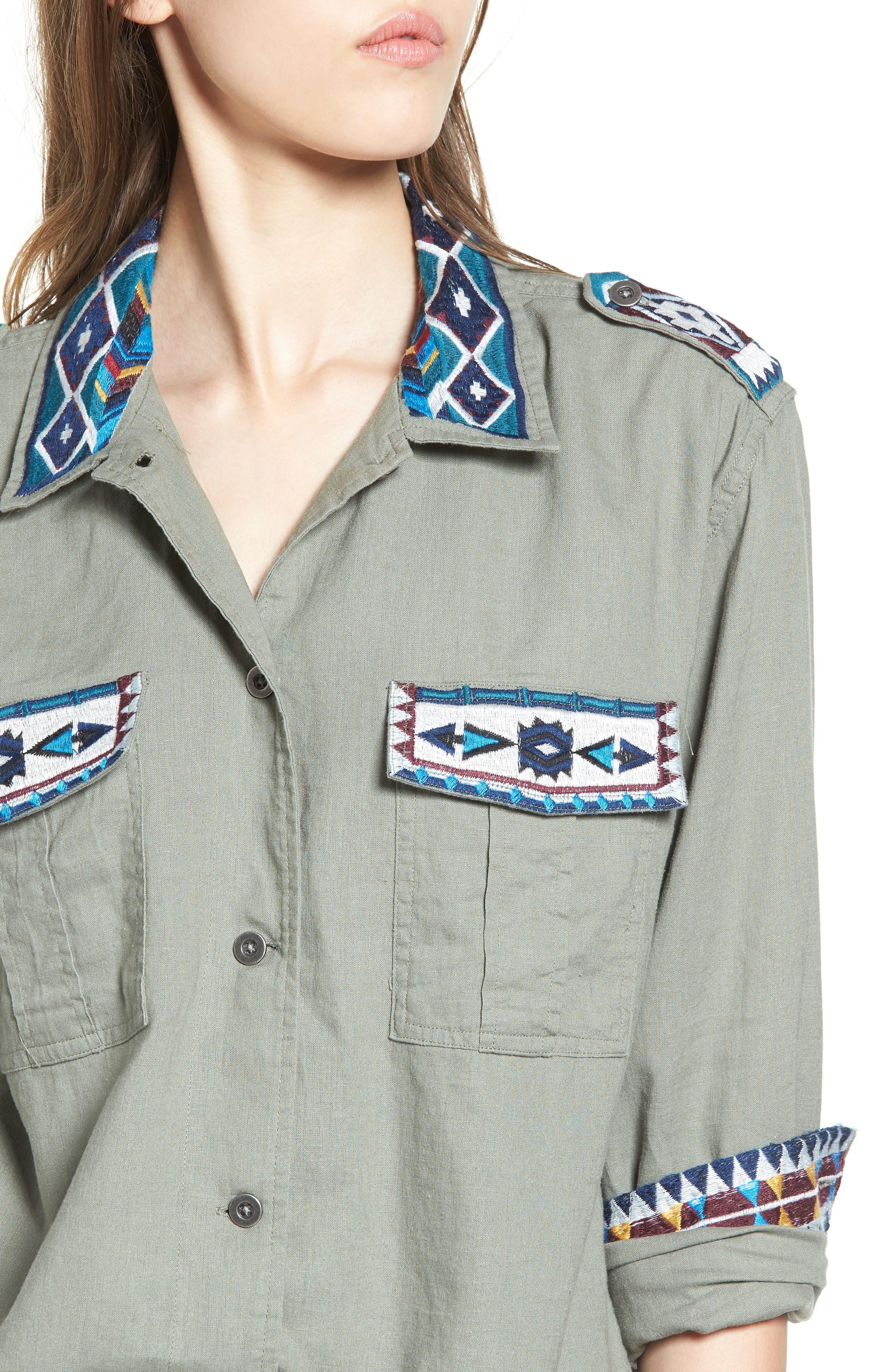 Kona Embroidered Shirt,                             Alternate thumbnail 4, color,                             Sage/ Inca Embroidery