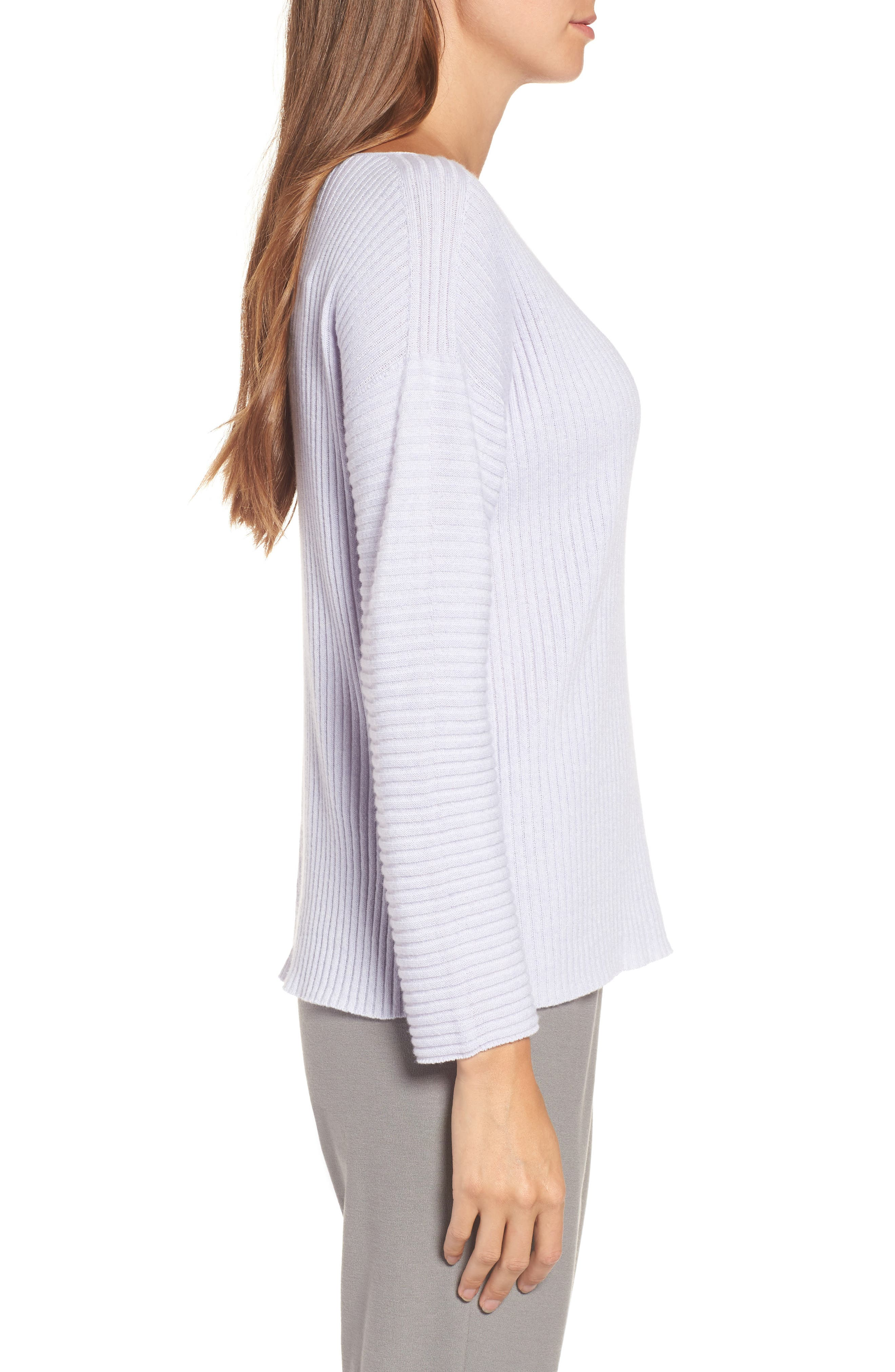 Ribbed Cashmere Sweater,                             Alternate thumbnail 3, color,                             Moon