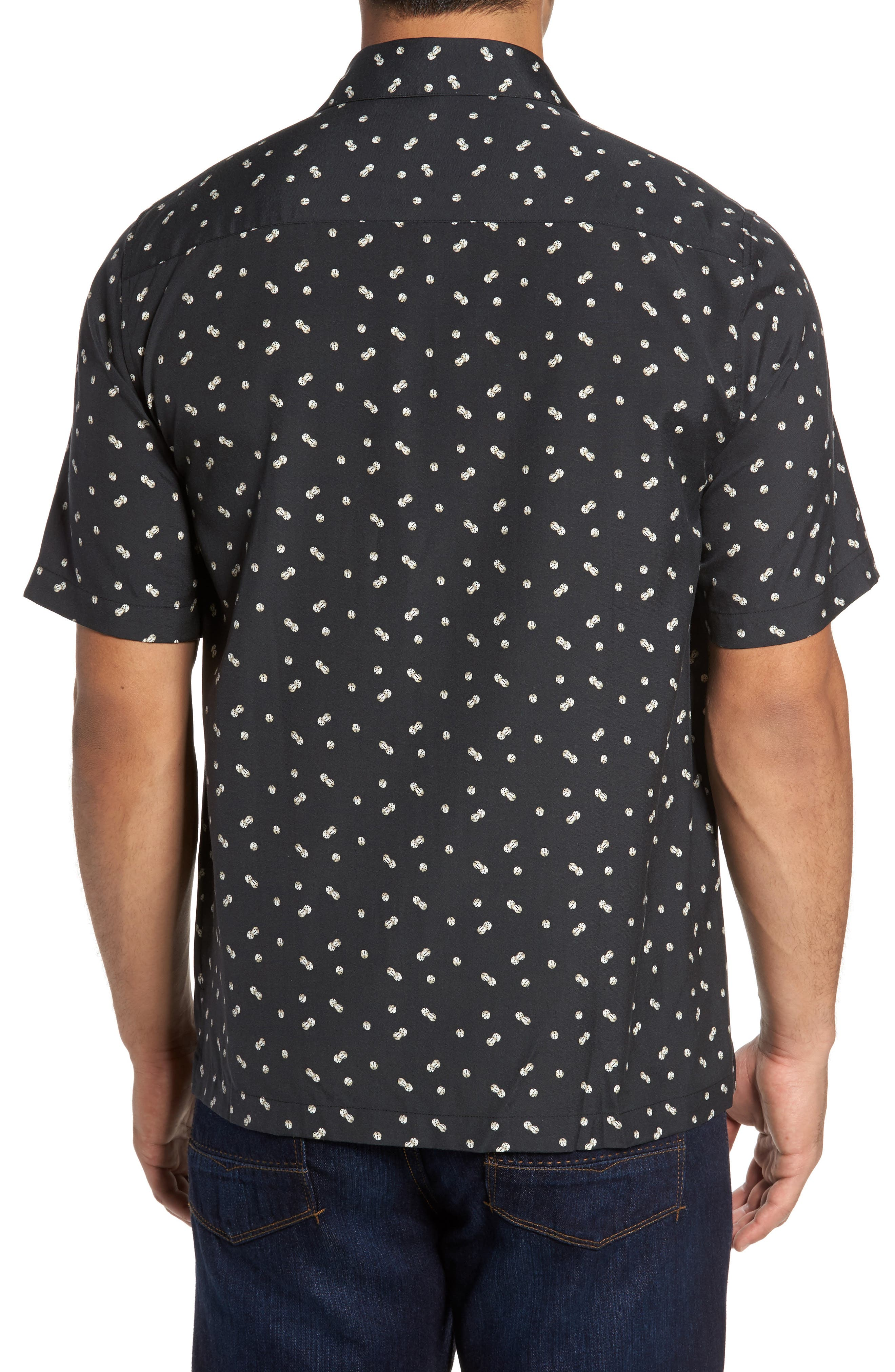 Dice Print Classic Fit Camp Shirt,                             Alternate thumbnail 2, color,                             Black