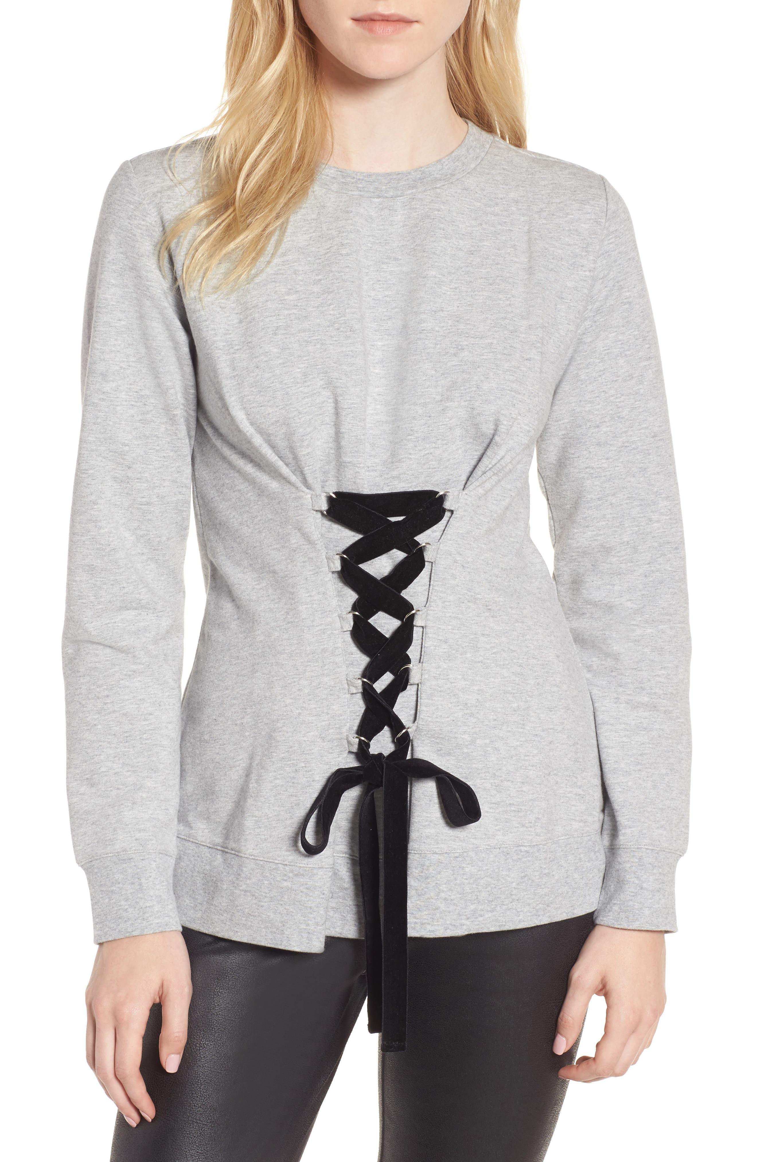 Lace-Up Sweatshirt,                         Main,                         color, Grey Heather