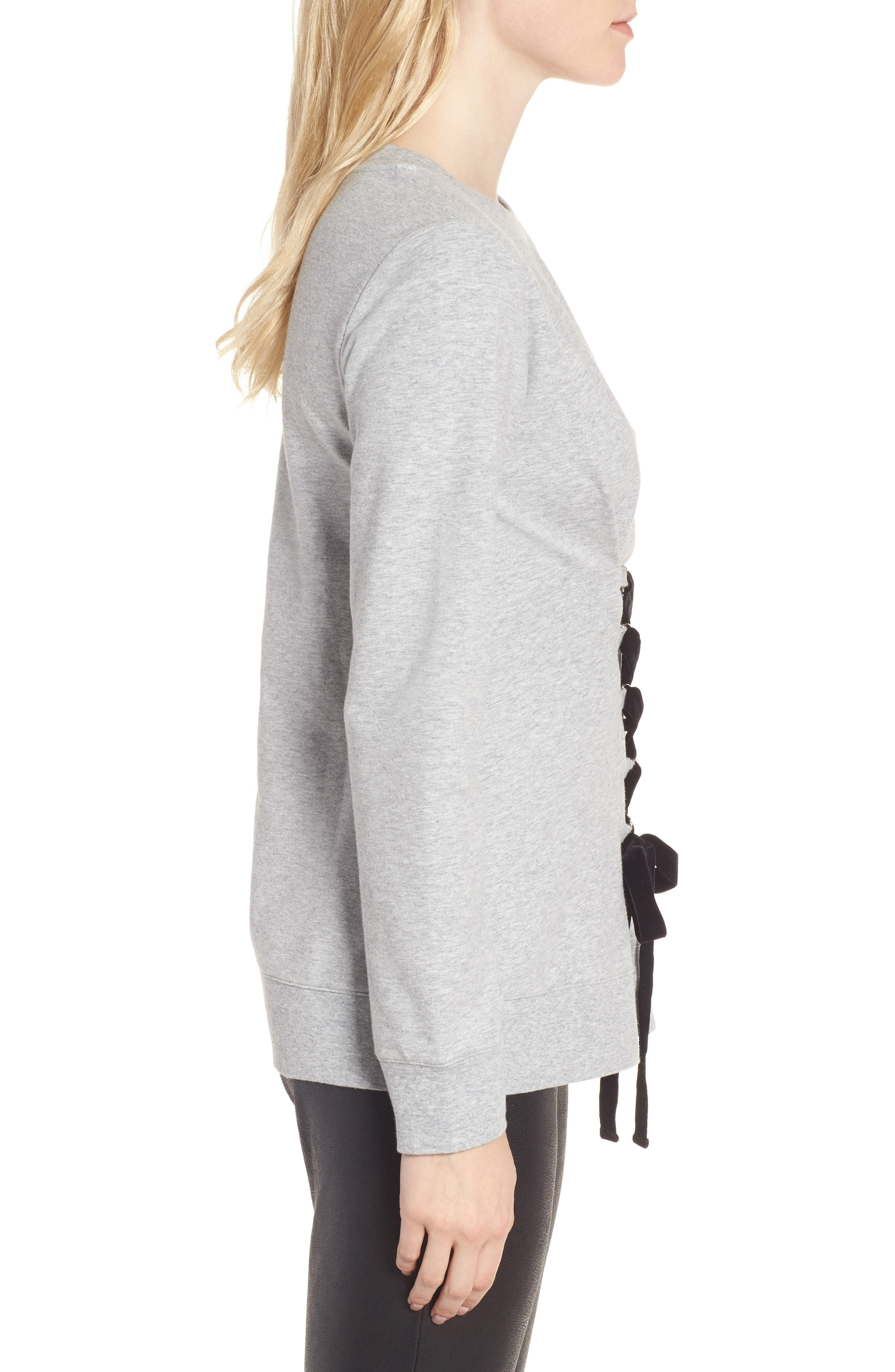 Lace-Up Sweatshirt,                             Alternate thumbnail 3, color,                             Grey Heather