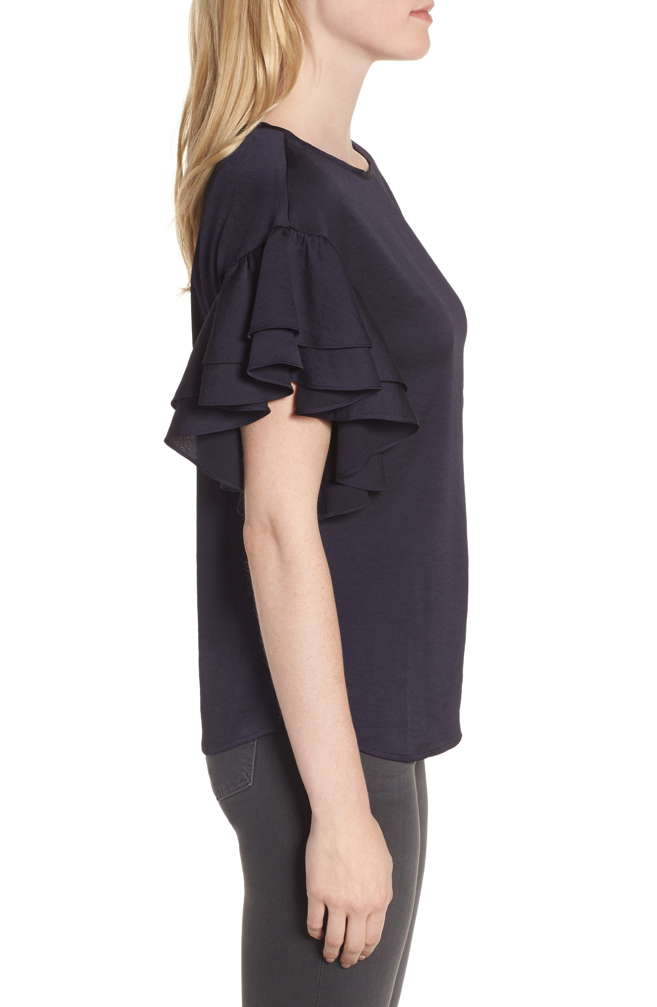 Ruffle Sleeve Top,                             Alternate thumbnail 3, color,                             Navy Well