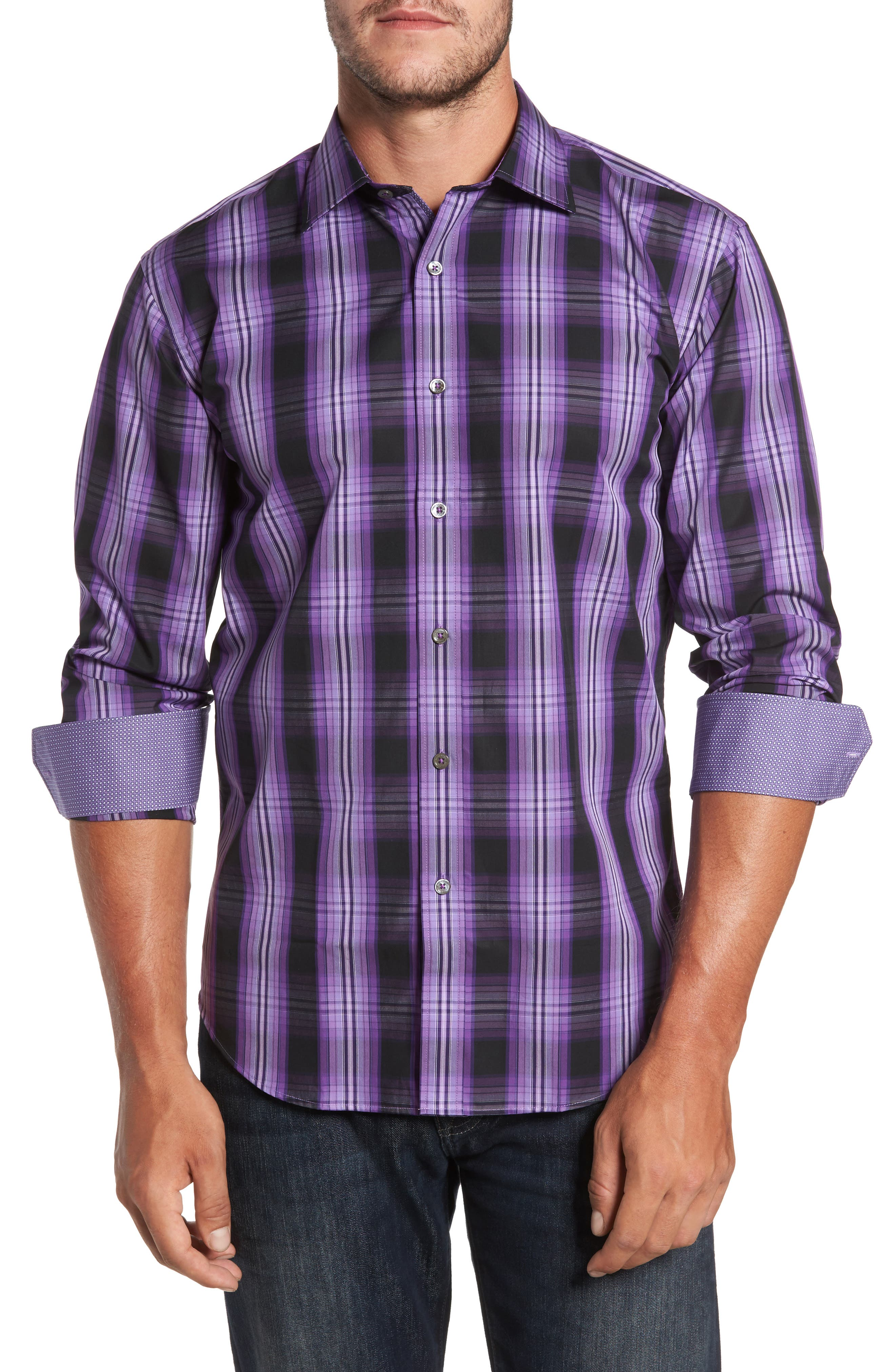Main Image - Bugatchi Slim Fit Gradient Plaid Sport Shirt