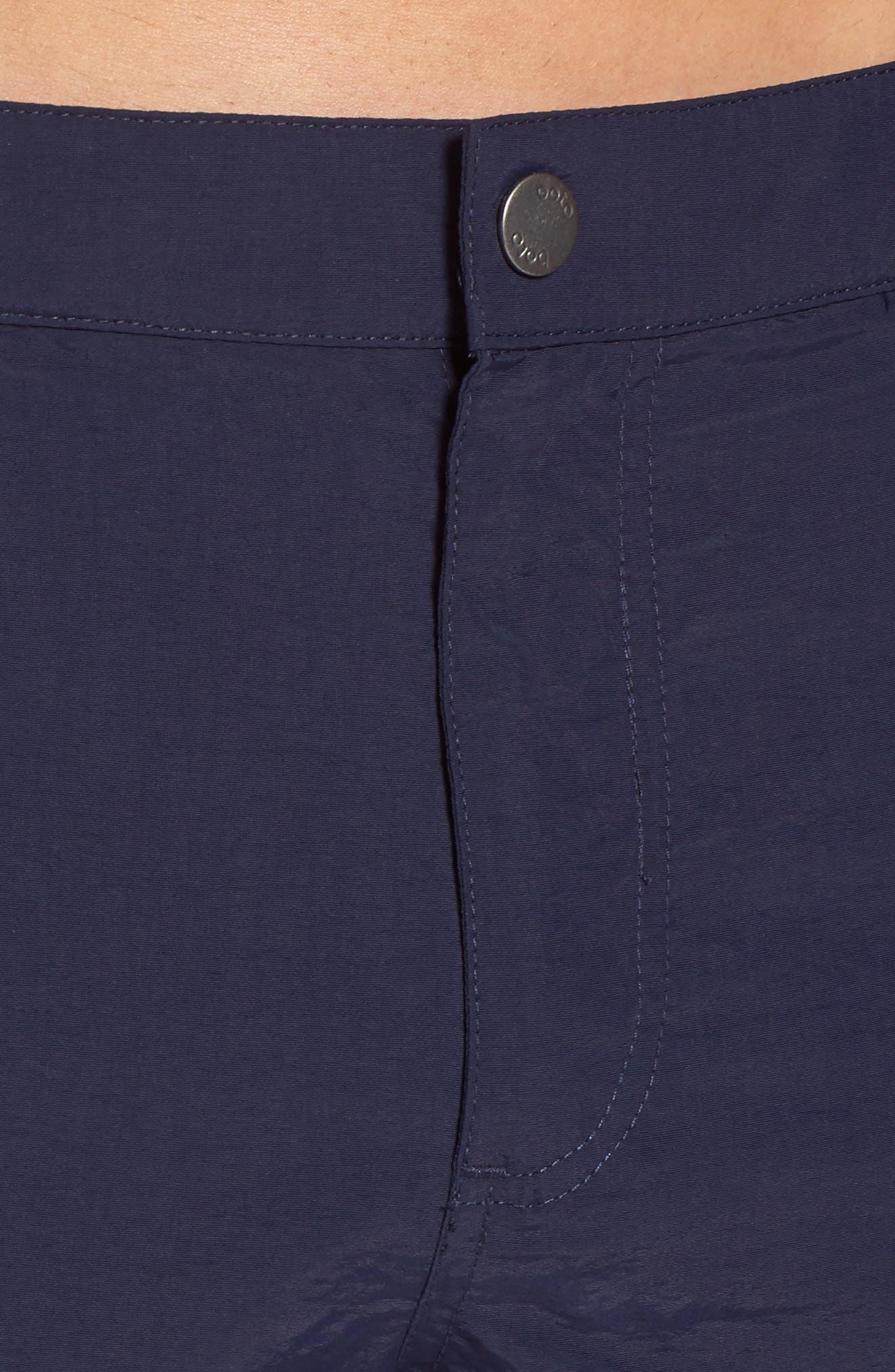 Aruba Tailored Fit French Stripe Swim Trunks,                             Alternate thumbnail 4, color,                             Navy French Stripes