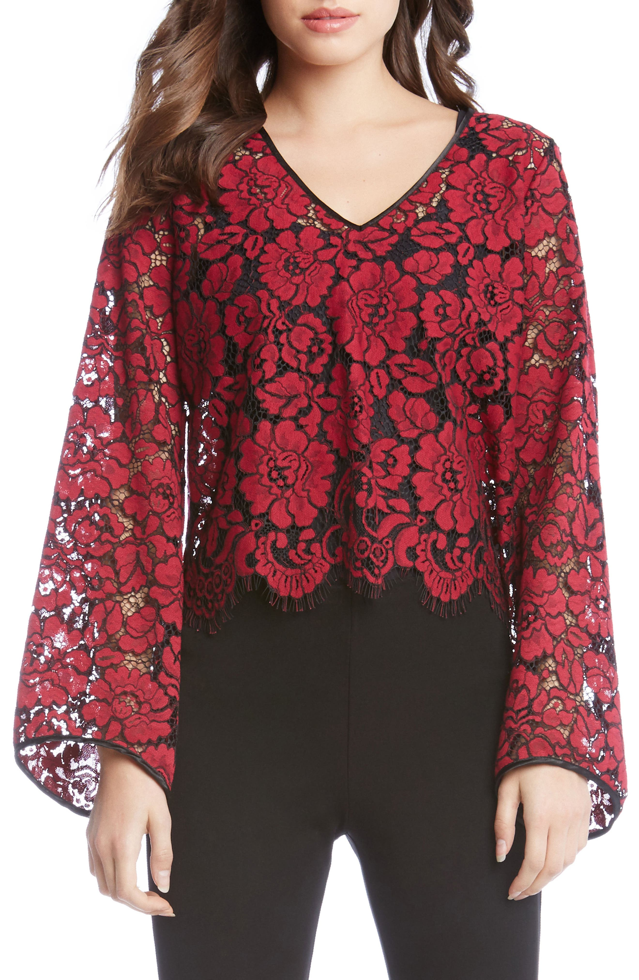 V-Neck Bell Sleeve Top,                         Main,                         color, Wine