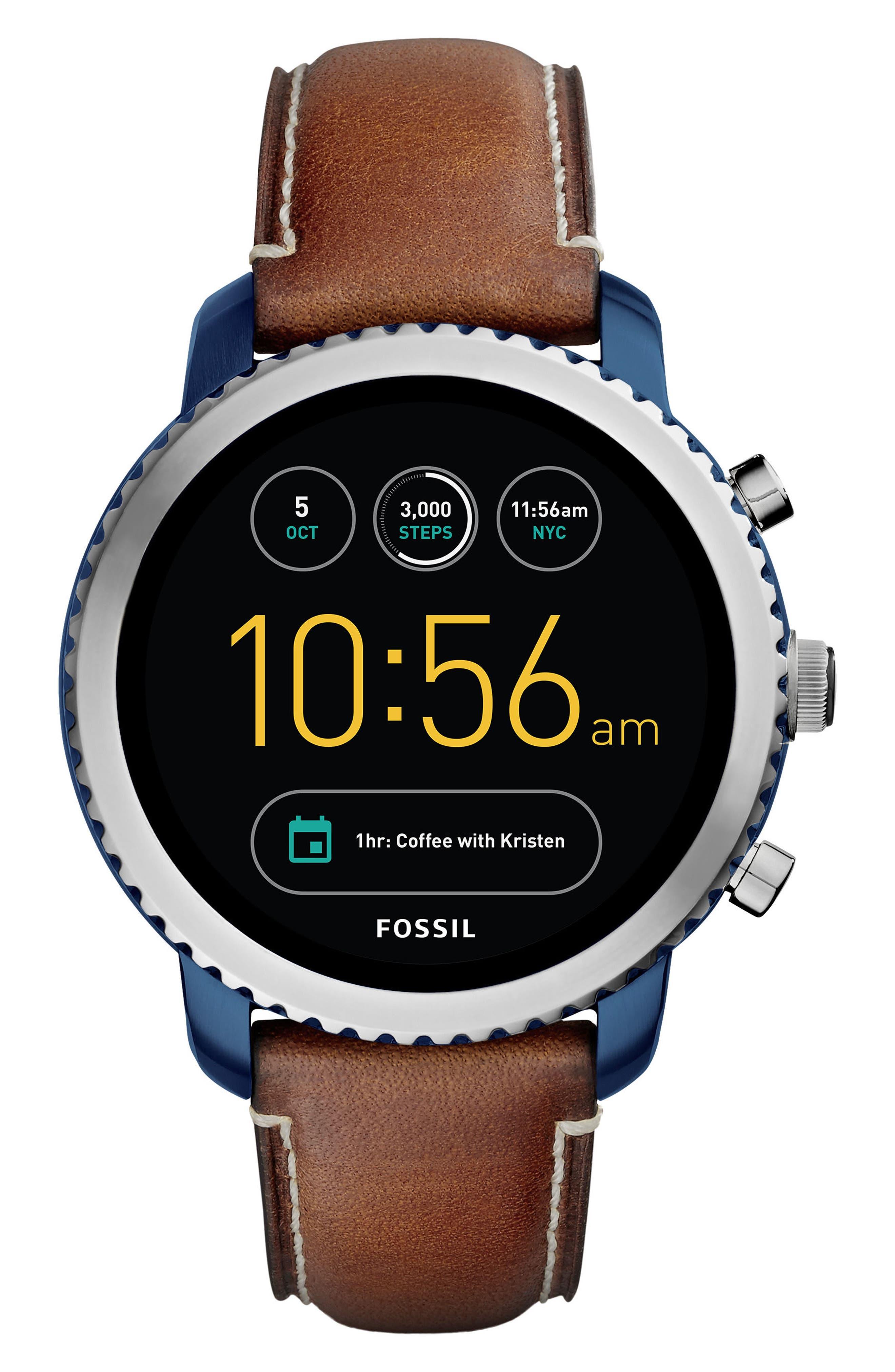 Fossil Q Explorist Gen 3 Leather Strap Smartwatch, 44mm