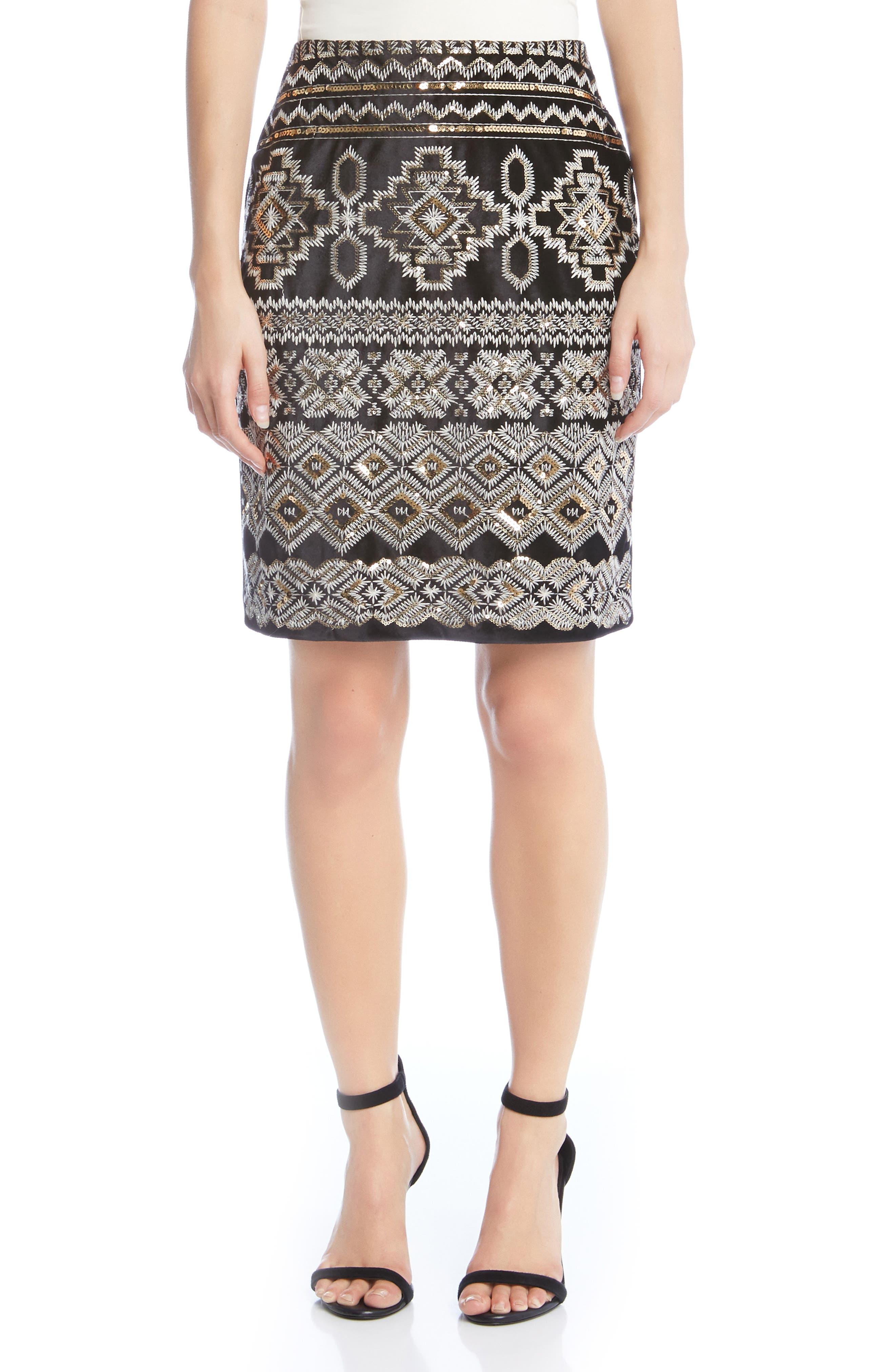 Main Image - Karen Kane Front Sequin Skirt