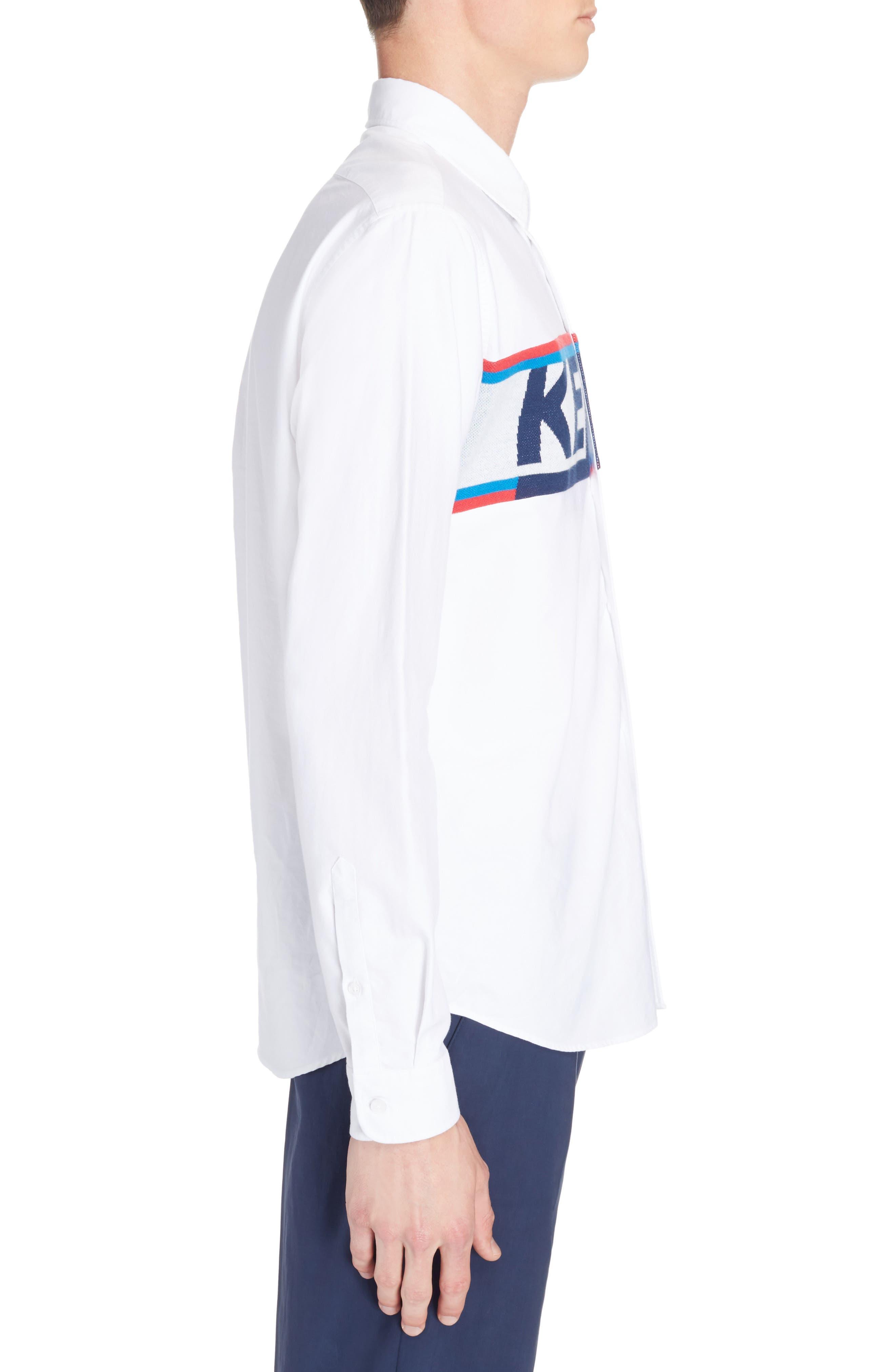 Knit Logo Woven Shirt,                             Alternate thumbnail 4, color,                             White