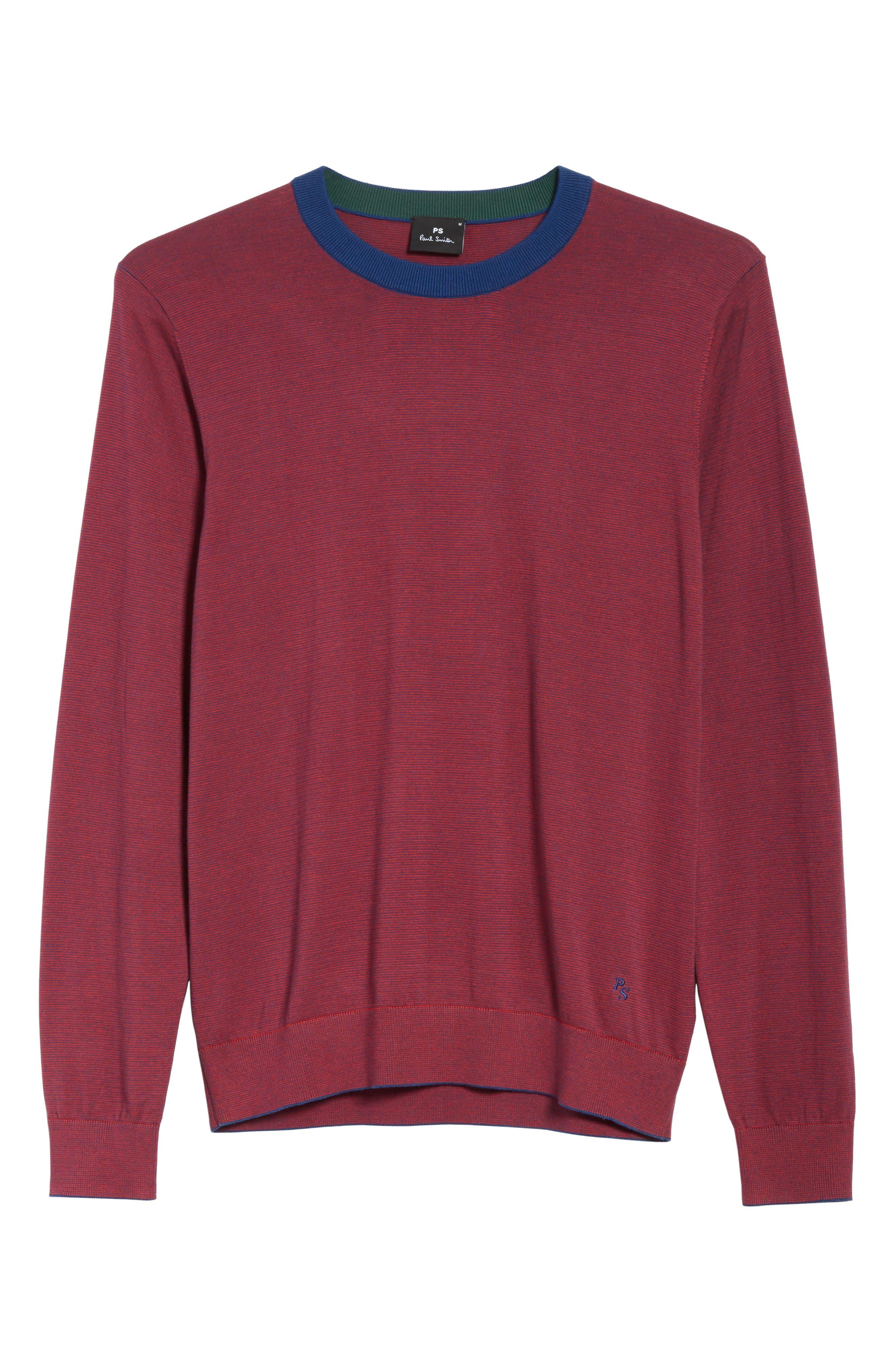 Ministripe Crewneck Sweater,                             Alternate thumbnail 6, color,                             Red