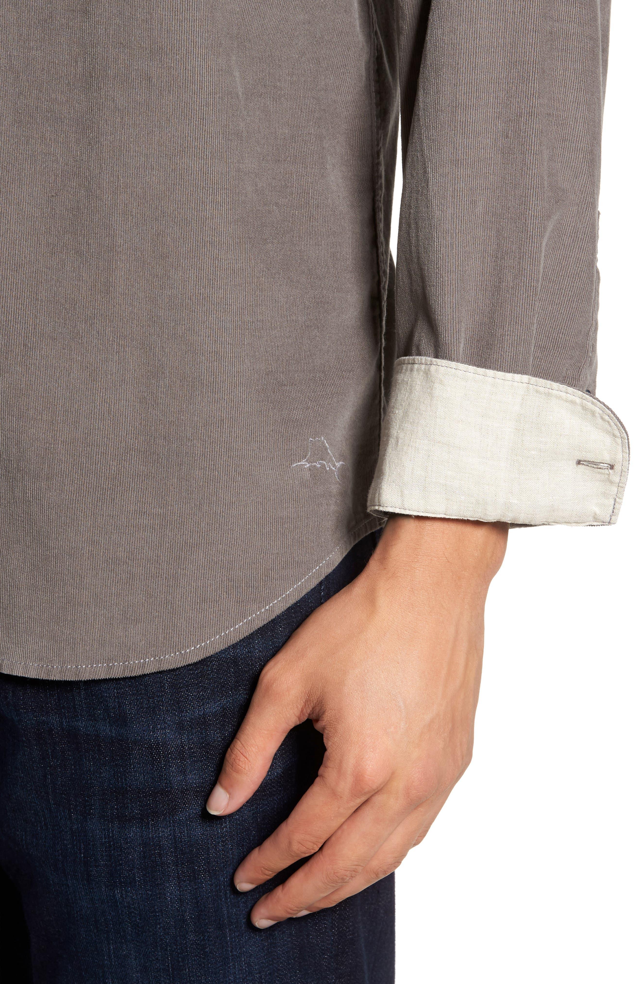 Harrison Cord Standard Fit Shirt,                             Alternate thumbnail 4, color,                             Pebble Grey
