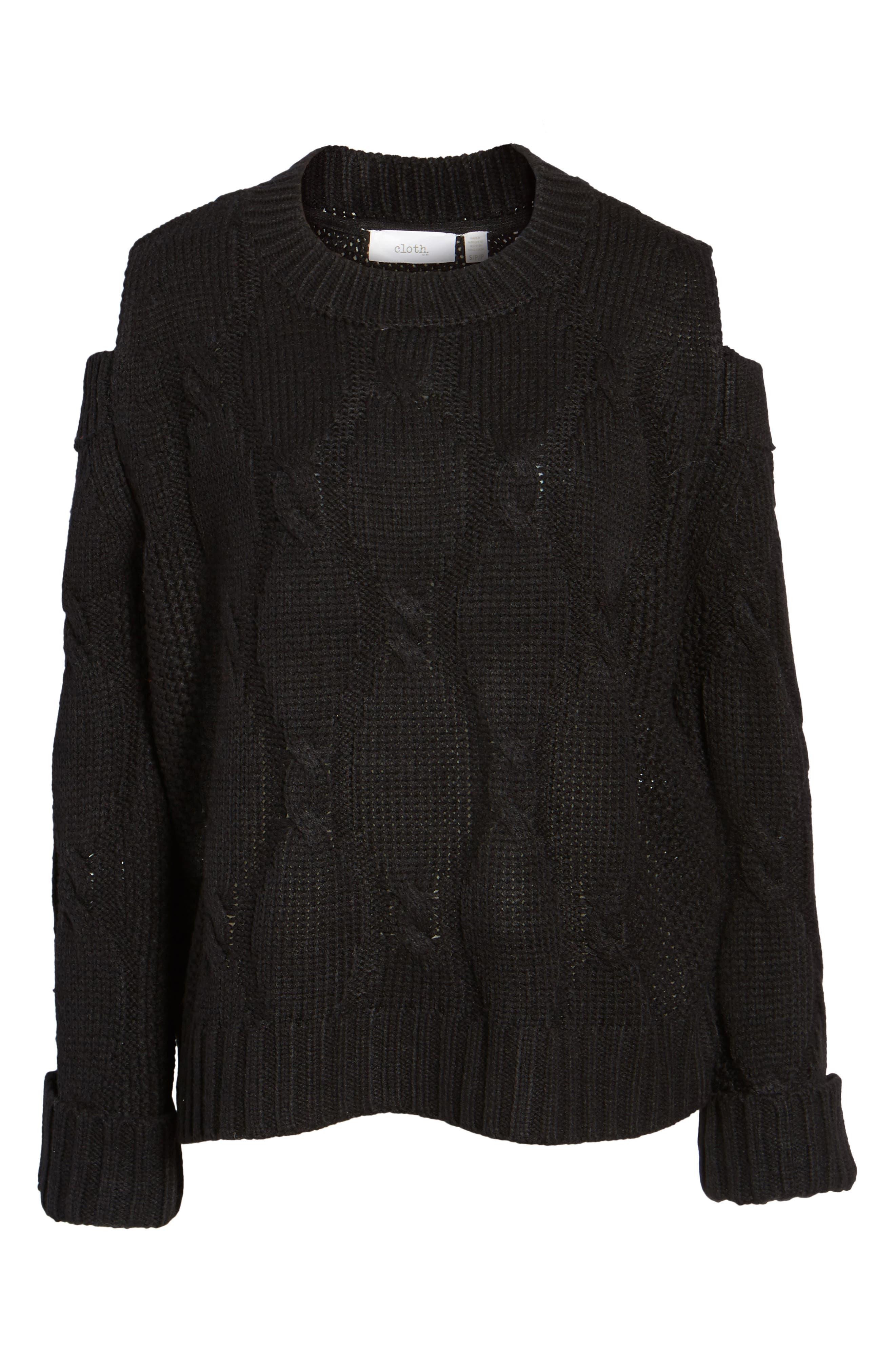 Cold Shoulder Cable Sweater,                             Alternate thumbnail 6, color,                             Black
