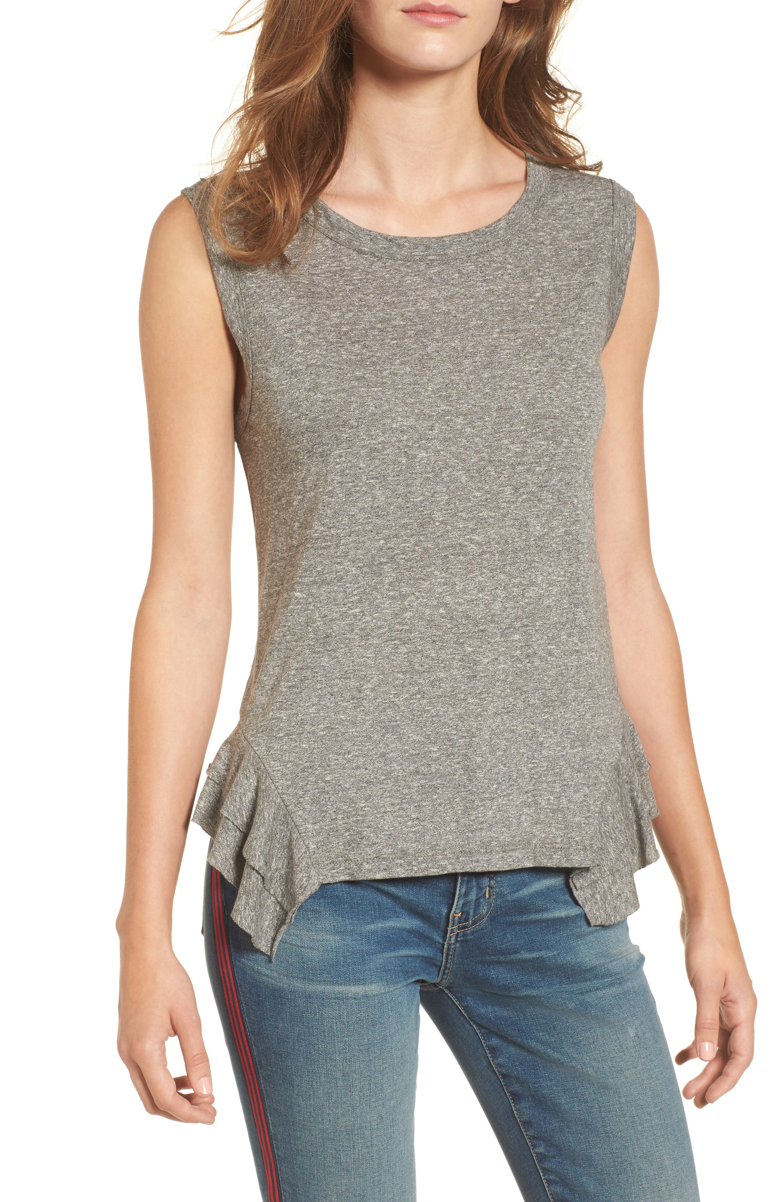The Tier Muscle Tank,                             Main thumbnail 1, color,                             Heather Grey Jersey