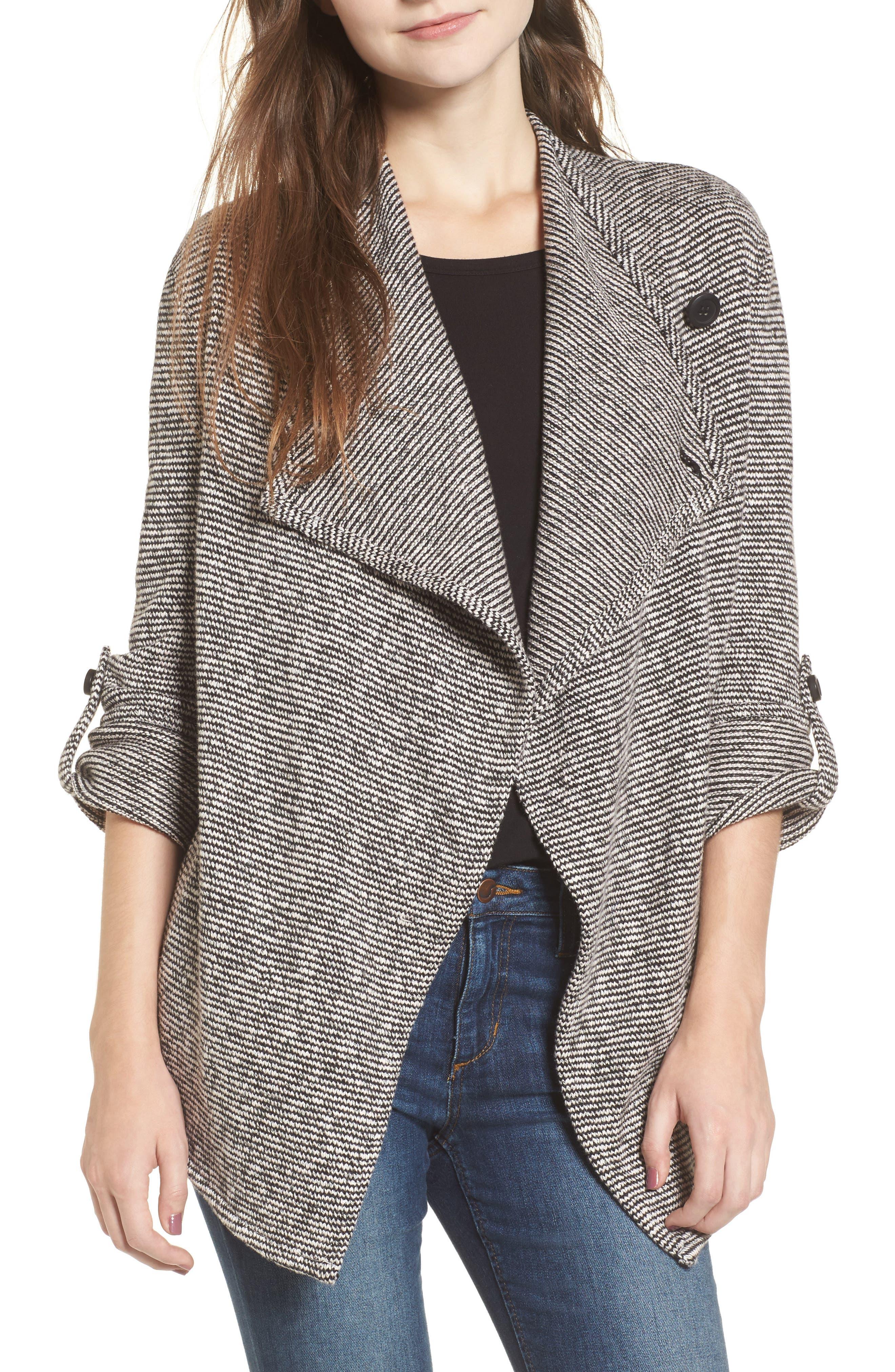 Micro Stripe Knit Drape Jacket,                             Main thumbnail 1, color,                             Dirty White