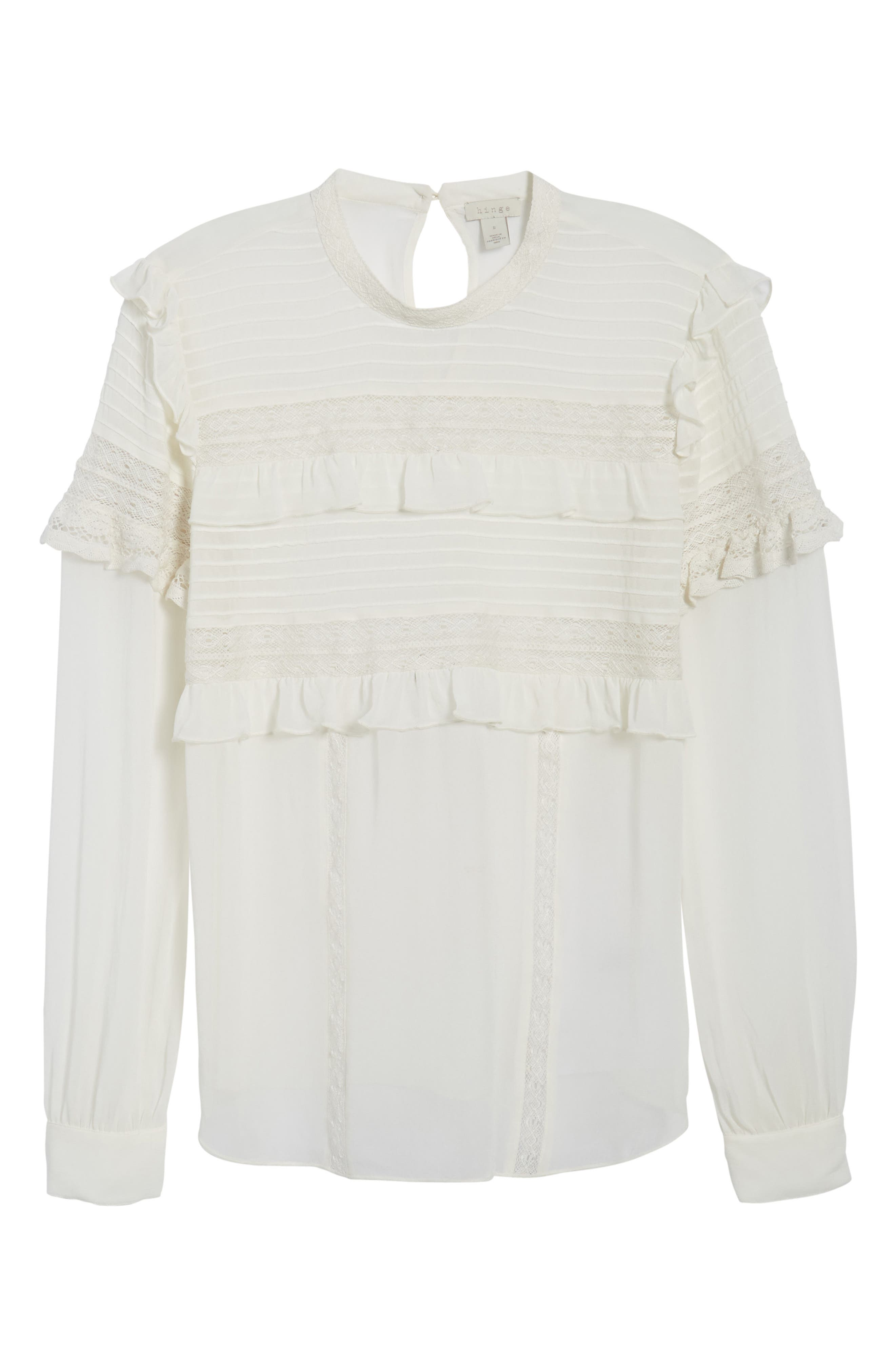 Ruffle Lace Top,                             Alternate thumbnail 7, color,                             Ivory