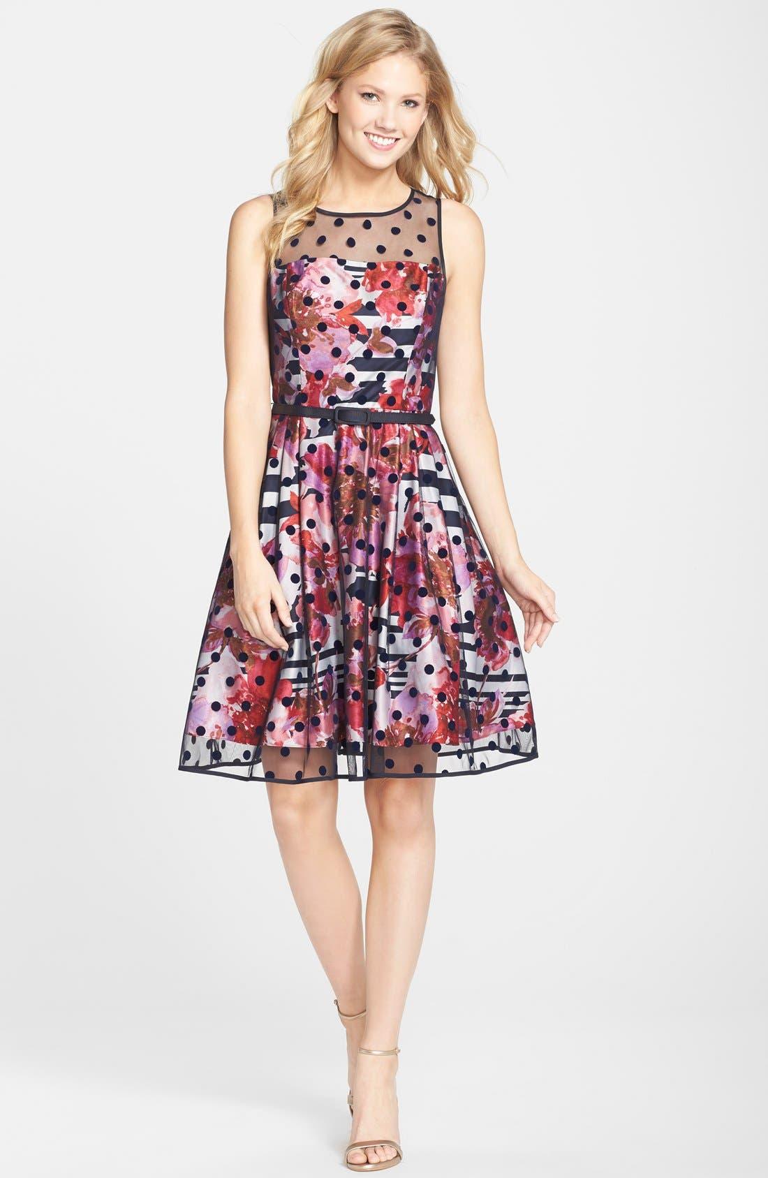 Alternate Image 3  - Eliza J Belted Print Mixed Media Fit & Flare Dress