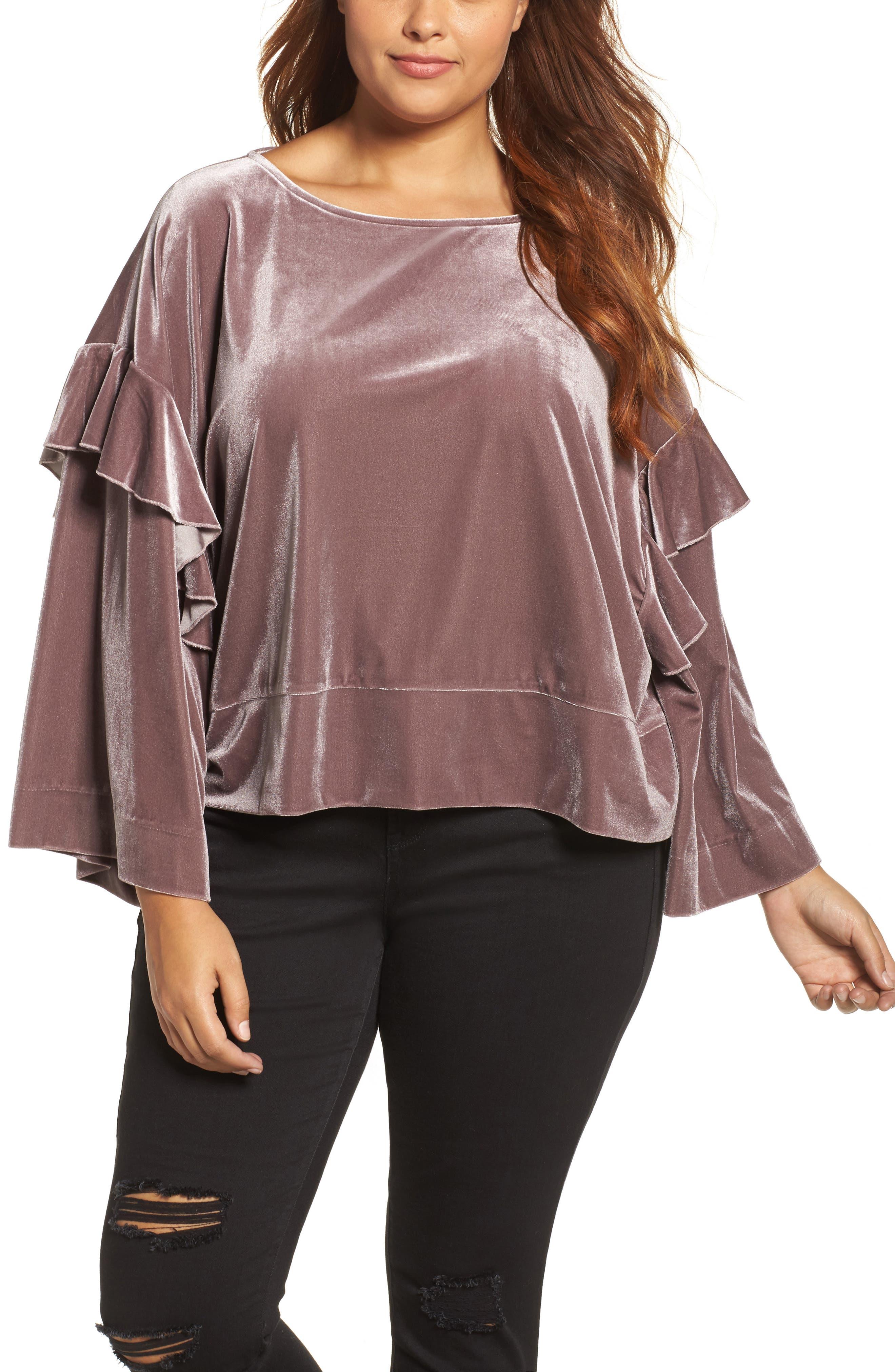 ELVI Ruffle Bell Sleeve Velvet Top (Plus Size)