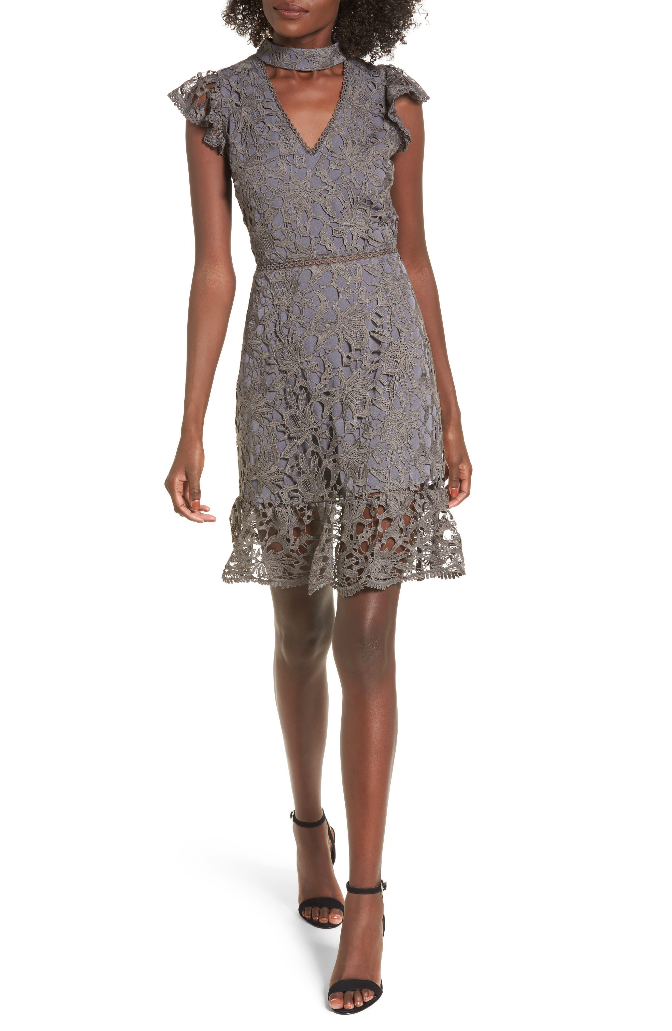 Alternate Image 1 Selected - J.O.A. Choker Lace Dress