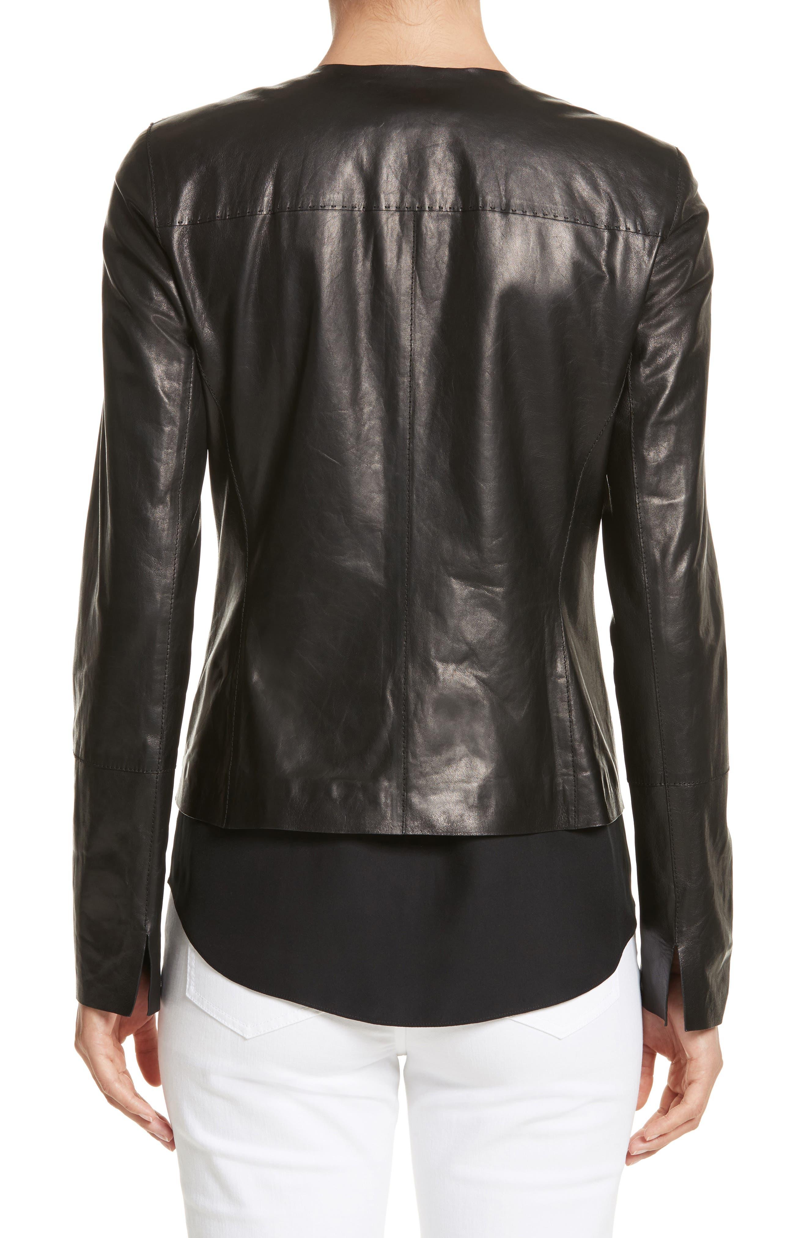 Alternate Image 2  - Lafayette 148 New York Caridee Glazed Lambskin Leather Jacket