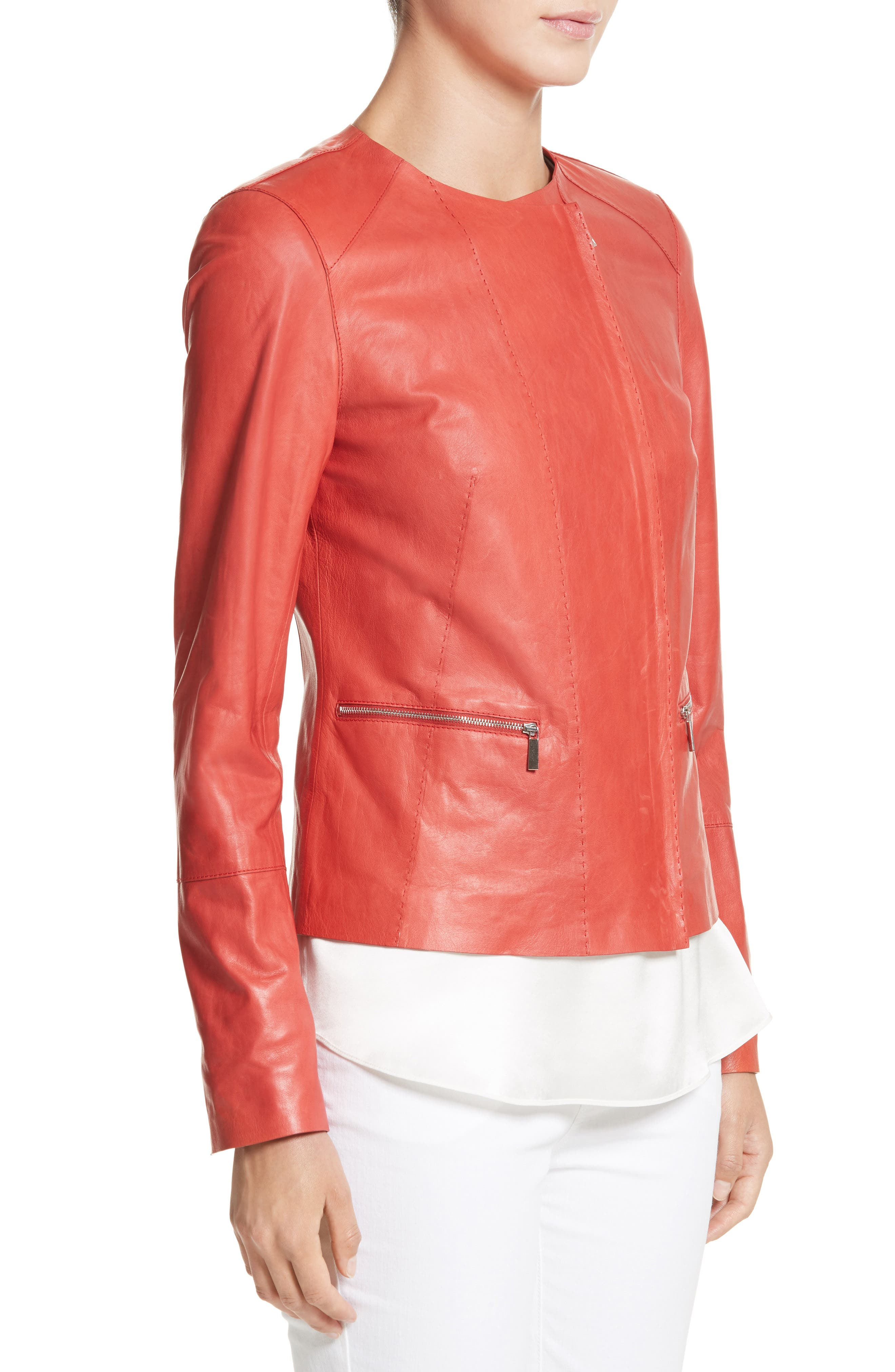 Alternate Image 3  - Lafayette 148 New York Caridee Glazed Lambskin Leather Jacket