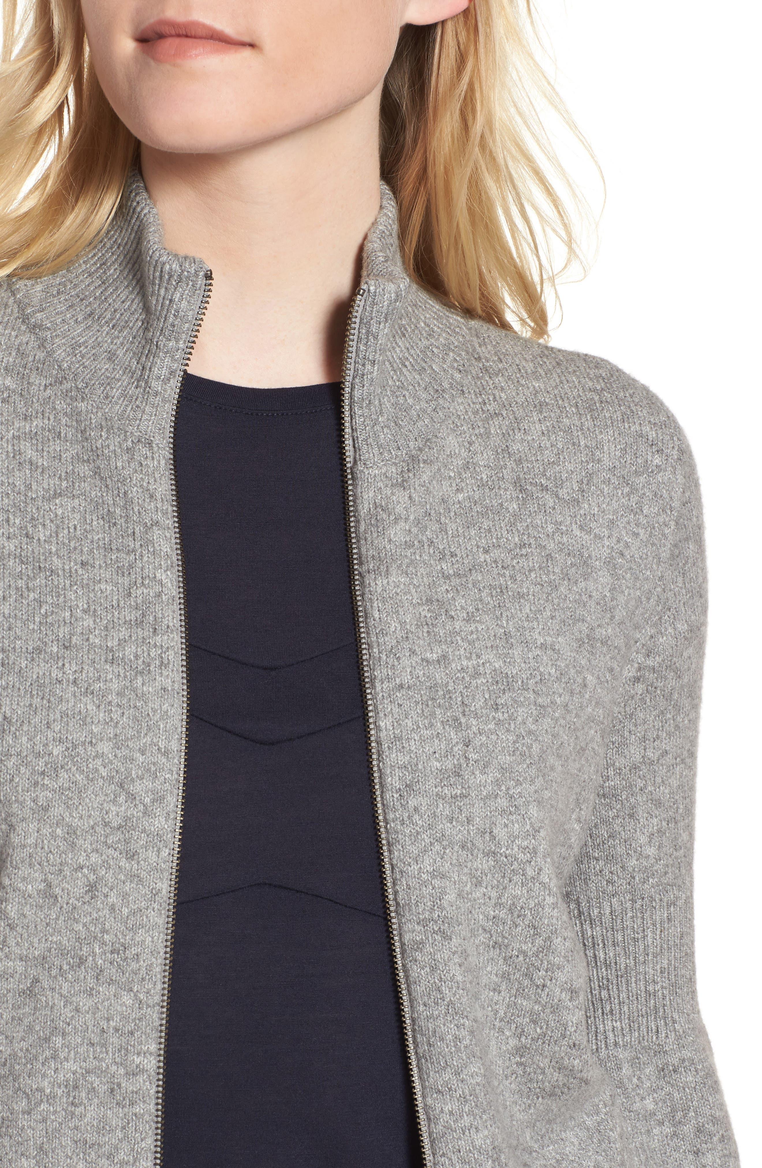 Flare Sleeve Track Jacket,                             Alternate thumbnail 4, color,                             Grey Heather