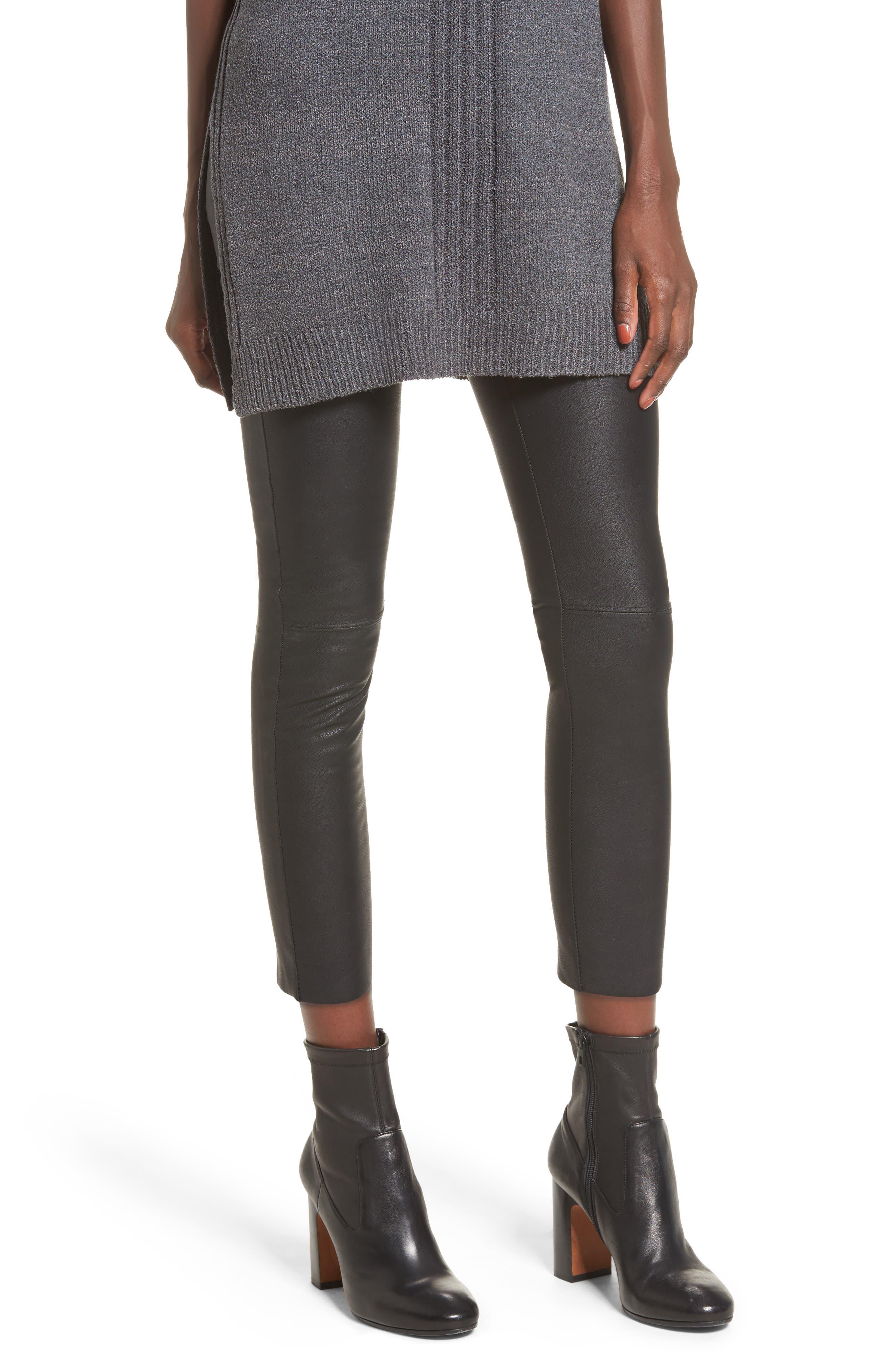 Gemma High Waist Faux Leather Leggings,                         Main,                         color, Black