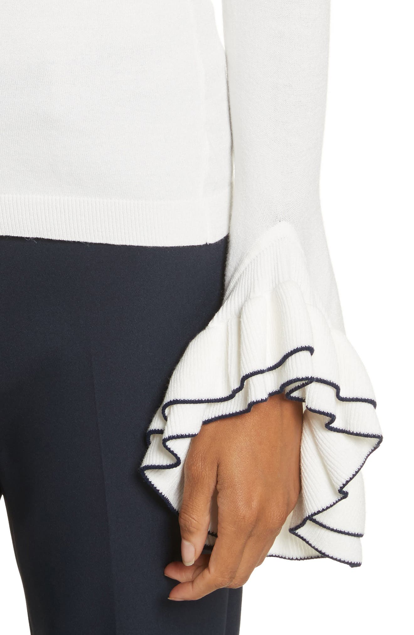 Tiered Ruffle Sleeve Sweater,                             Alternate thumbnail 4, color,                             White/ Navy