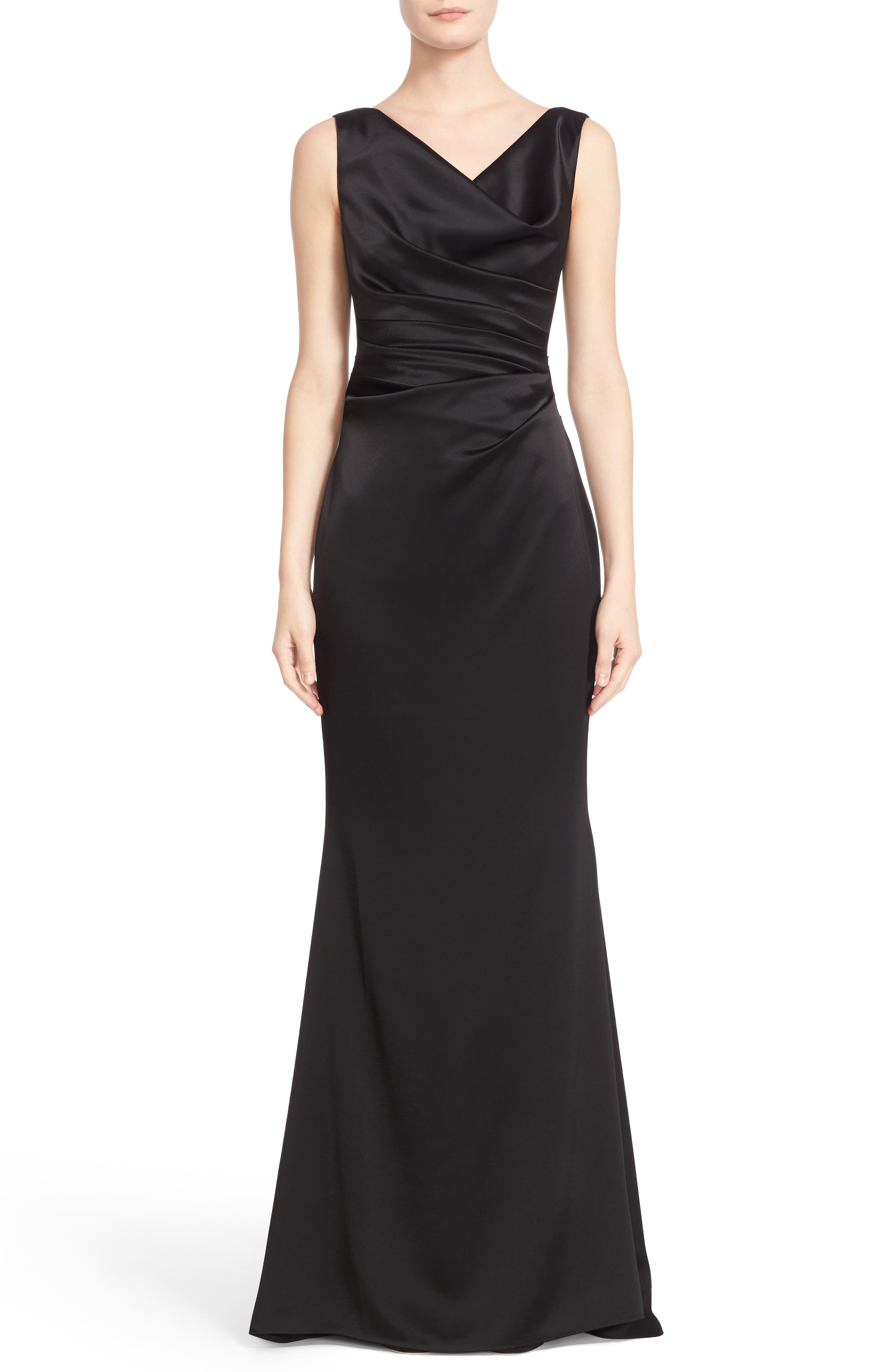 Drape V-Neck Matte Crepe Column Gown,                             Main thumbnail 1, color,                             Black
