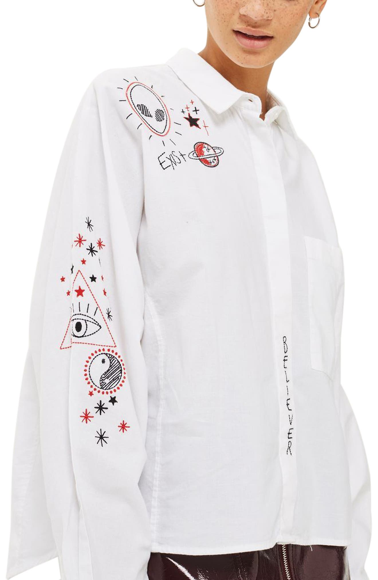 Doodle Believer Embroidered Shirt,                         Main,                         color, White Multi