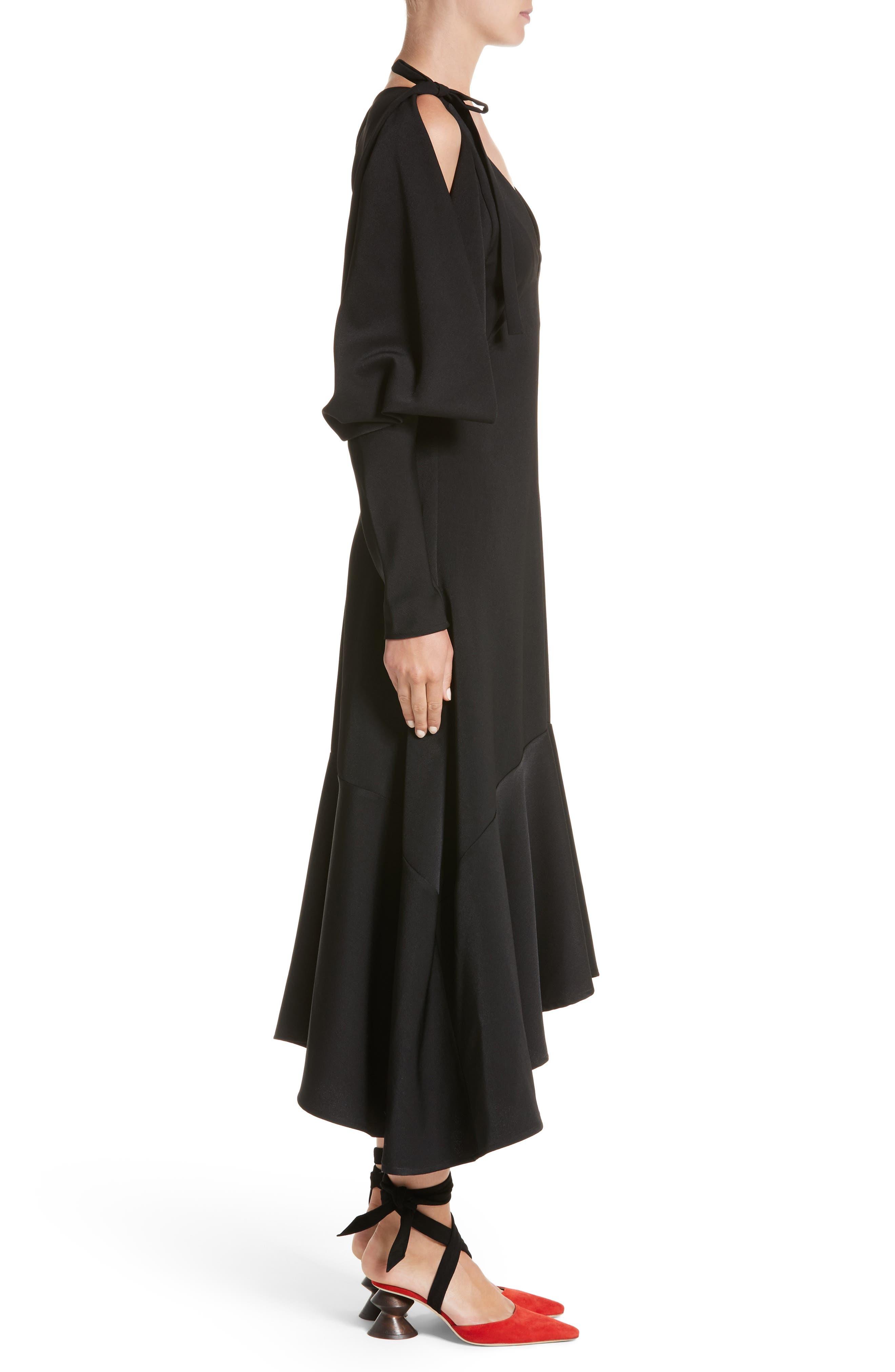 Open Back Cold Shoulder Dress,                             Alternate thumbnail 3, color,                             Crepe Satin Black