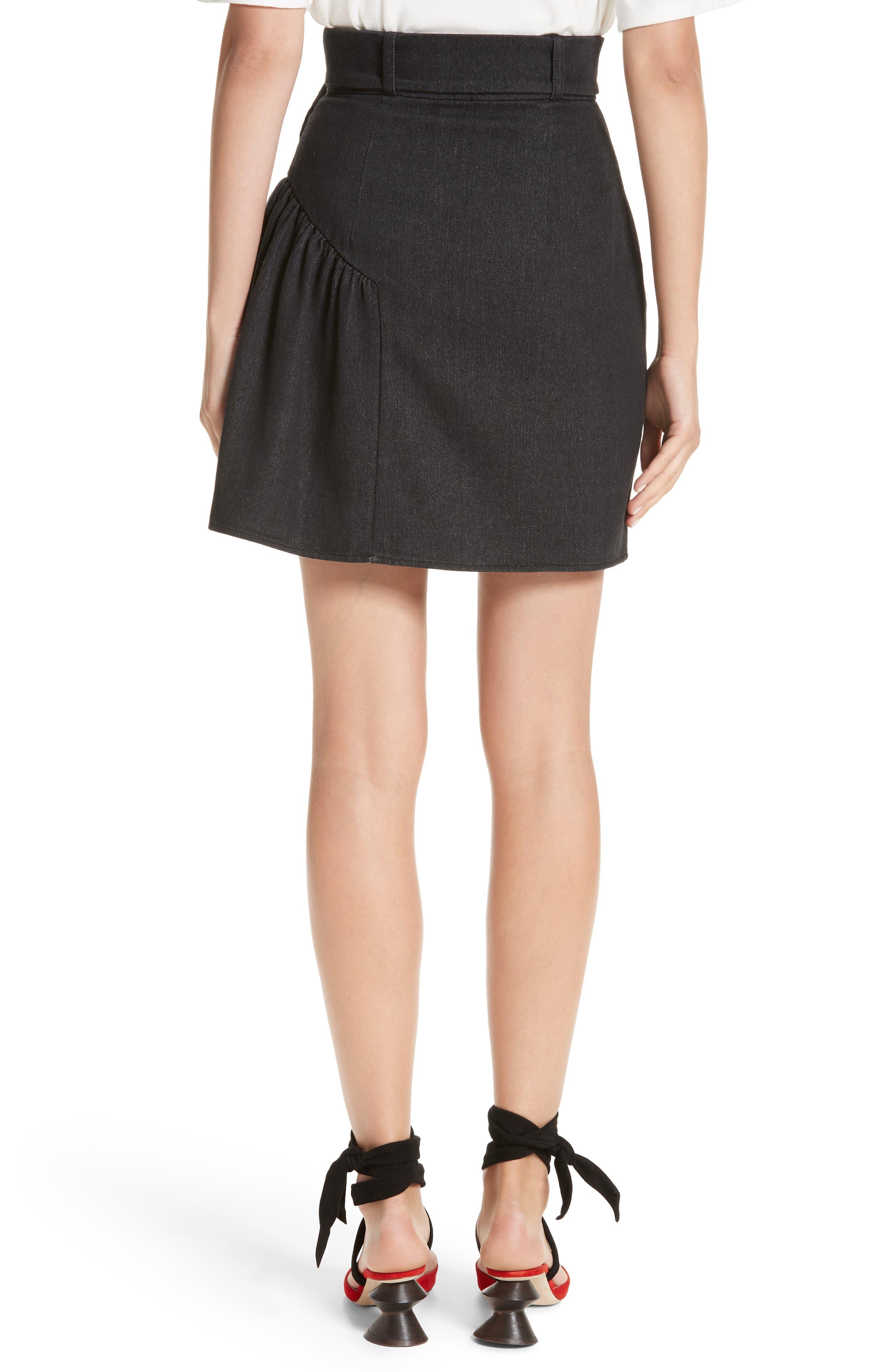 Belted Ruffle Denim Miniskirt,                             Alternate thumbnail 2, color,                             Cotton Denim Black