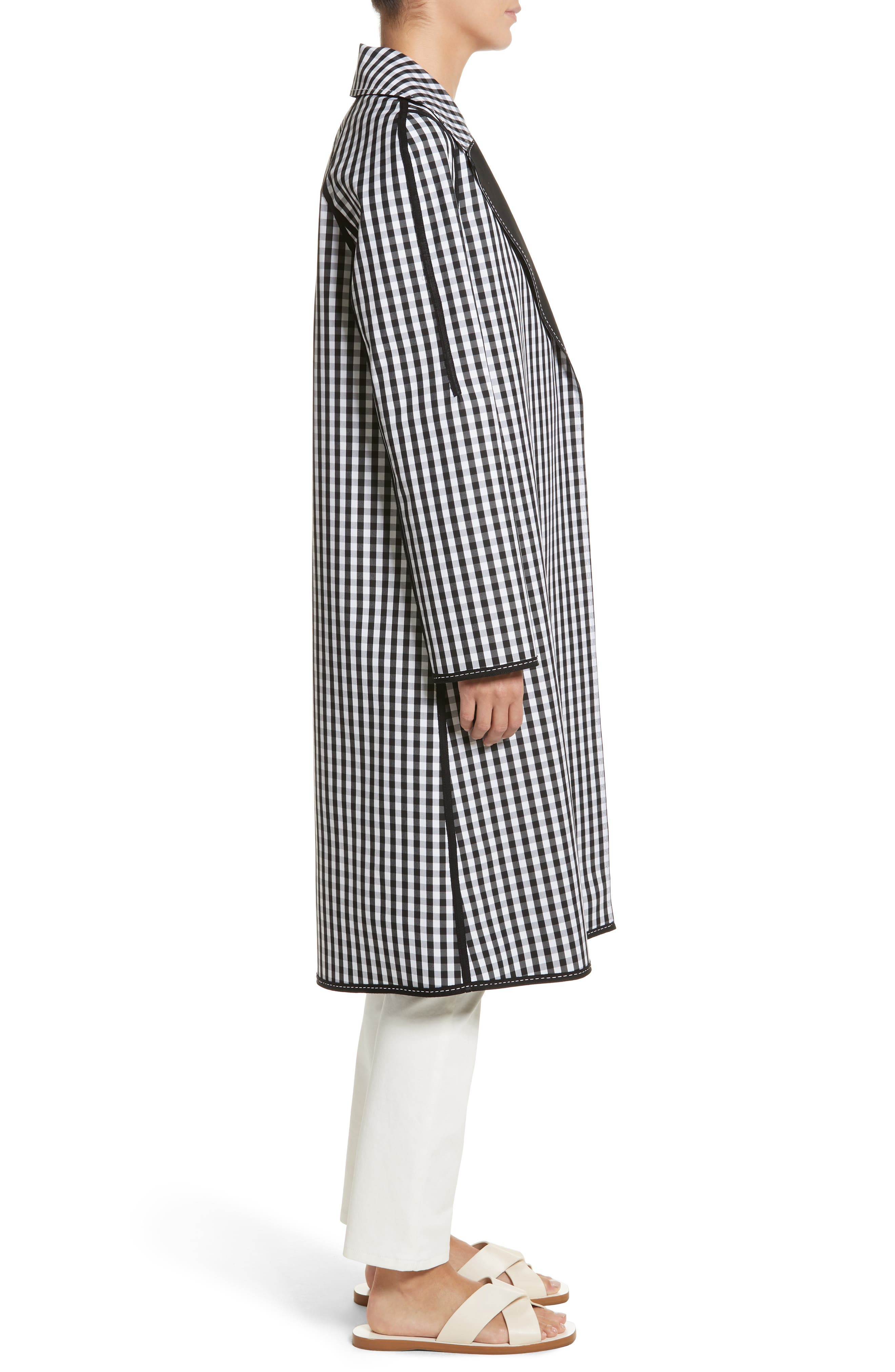 Dina Reversible Trench Coat,                             Alternate thumbnail 4, color,                             Black Multi