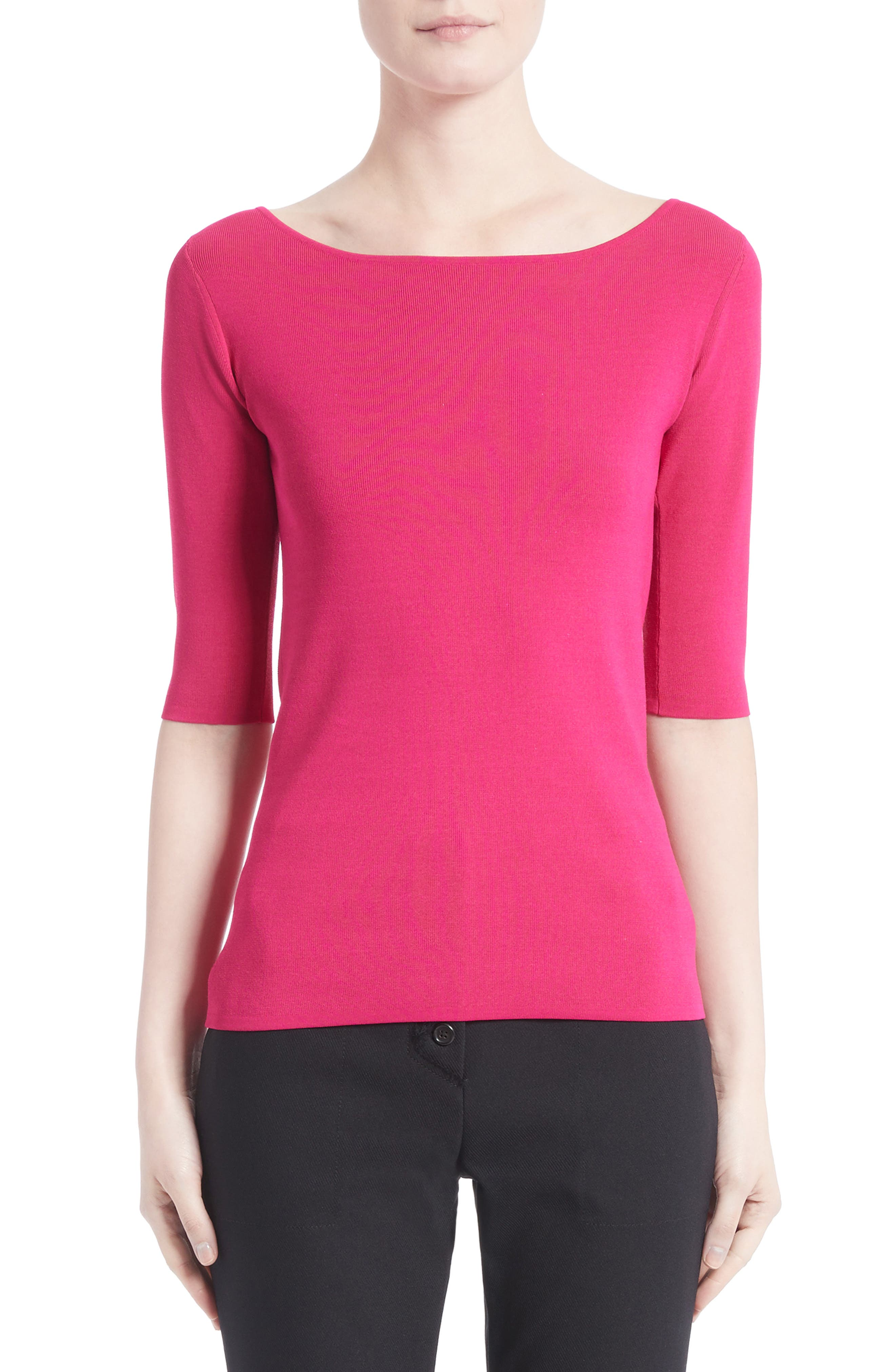 Knit Top,                         Main,                         color, Hot Pink