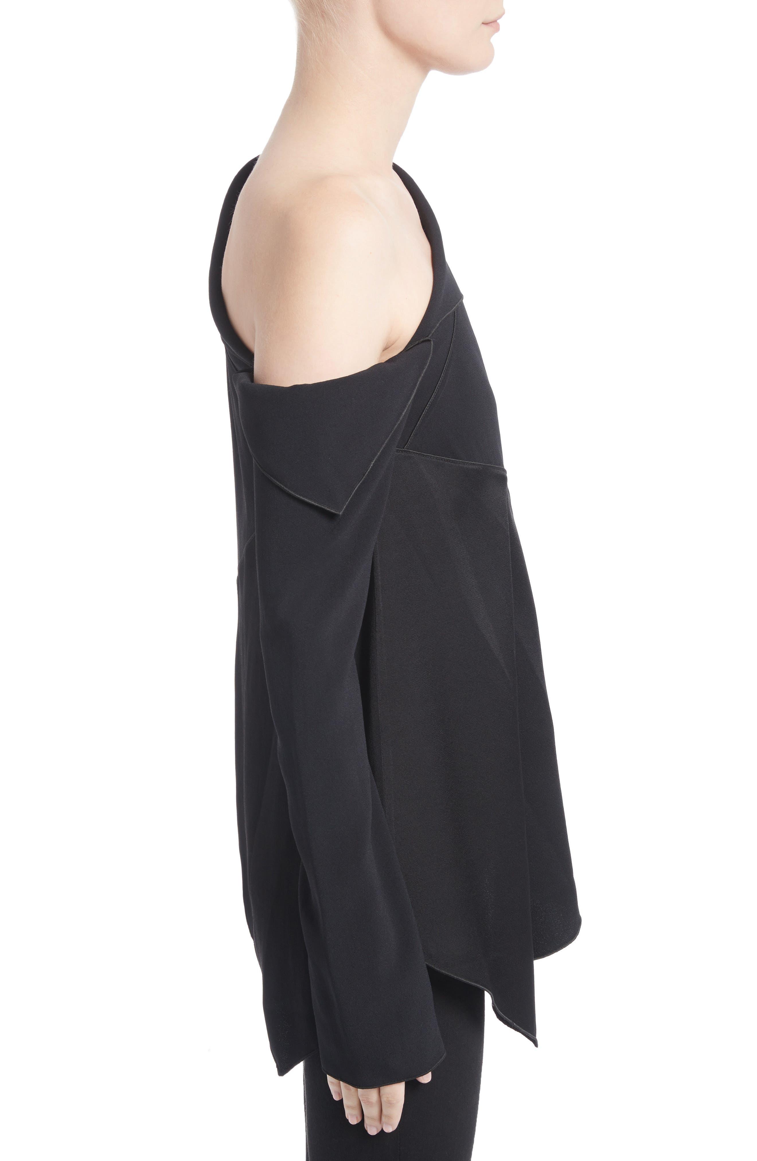 Single Shoulder Satin Back Crepe Blouse,                             Alternate thumbnail 3, color,                             Black
