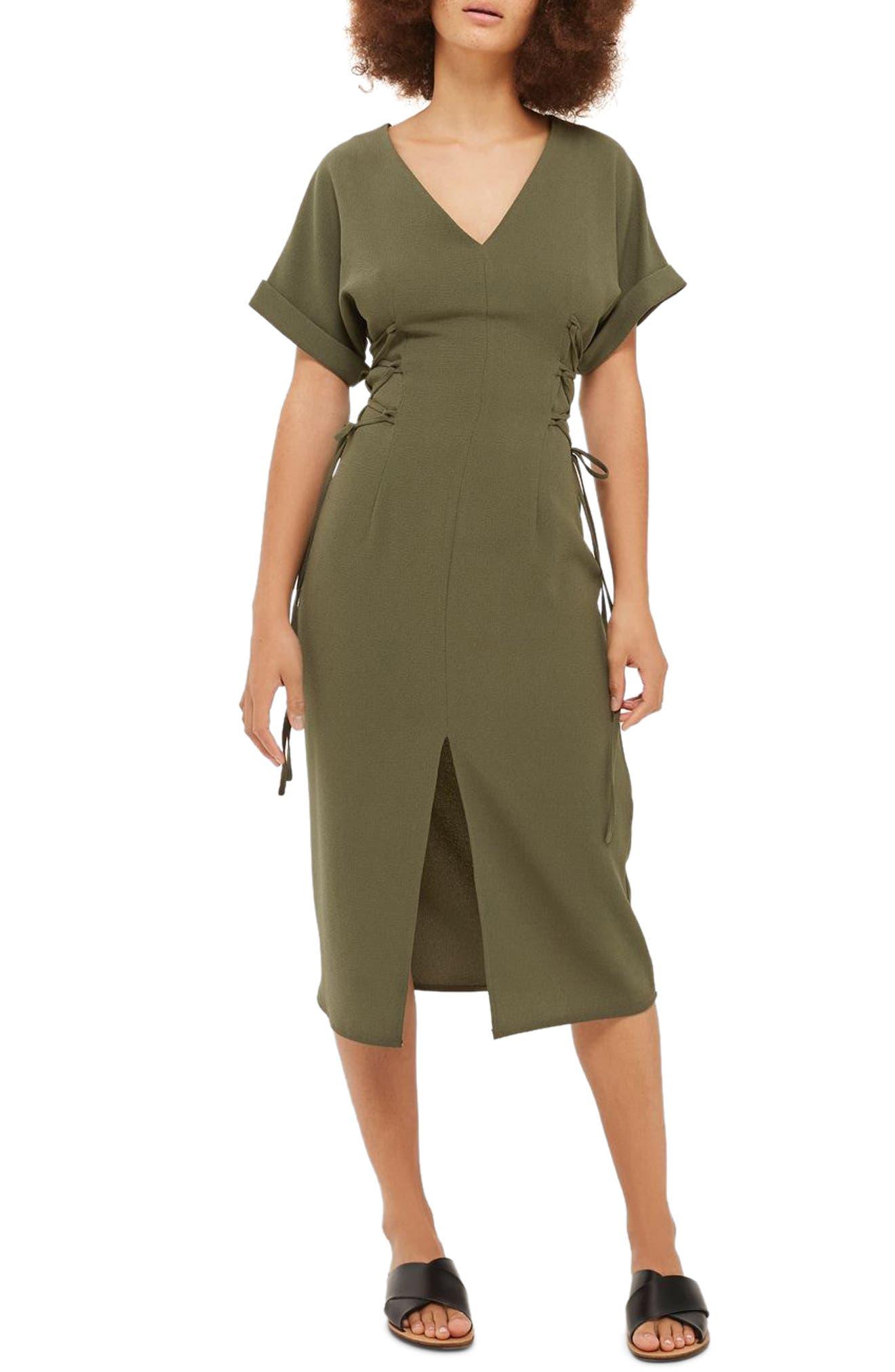 Topshop Corset Side Midi Dress