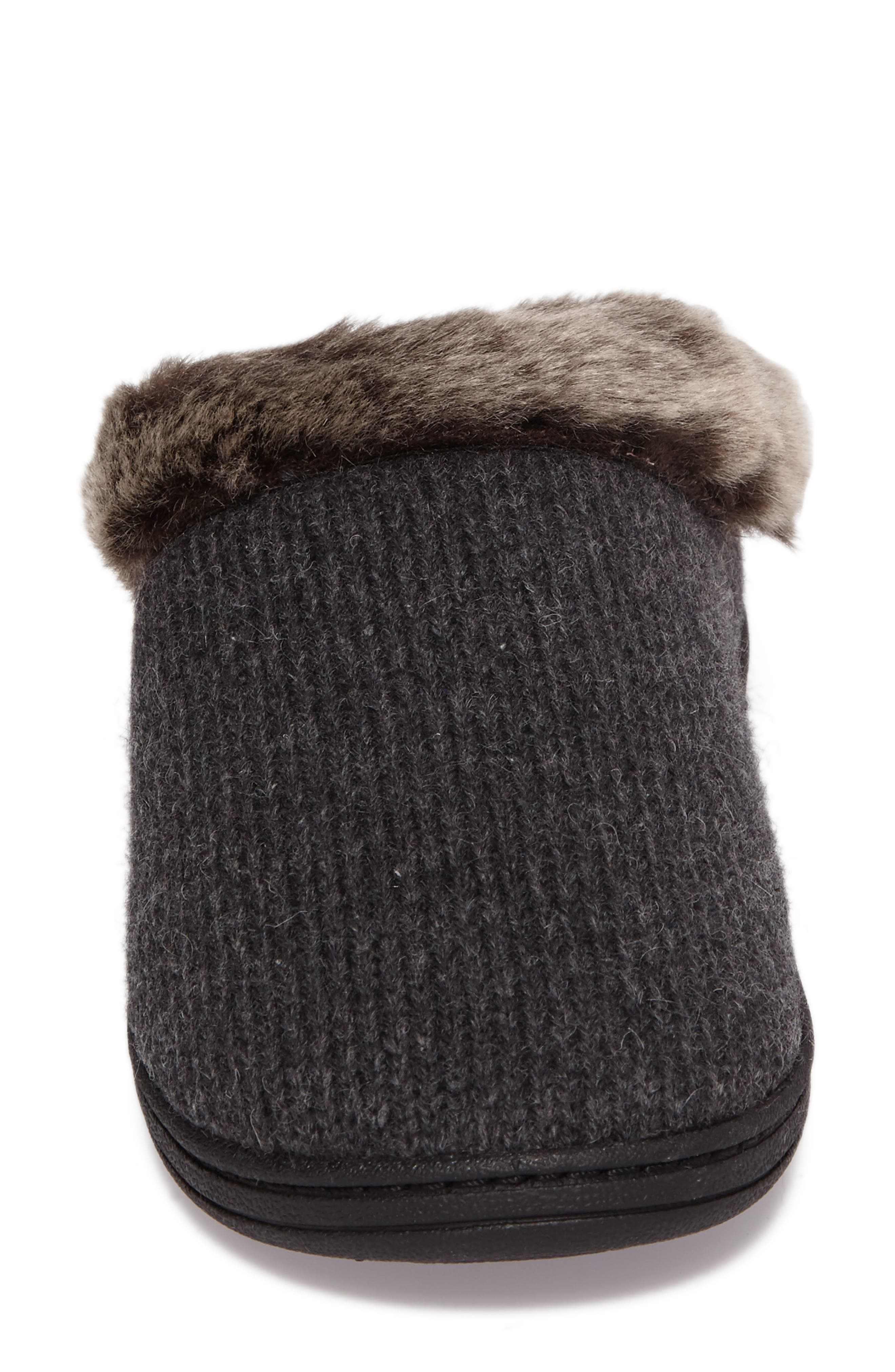 Chinchilla Faux Fur Slipper,                             Alternate thumbnail 4, color,                             Dark Charcoal Heather