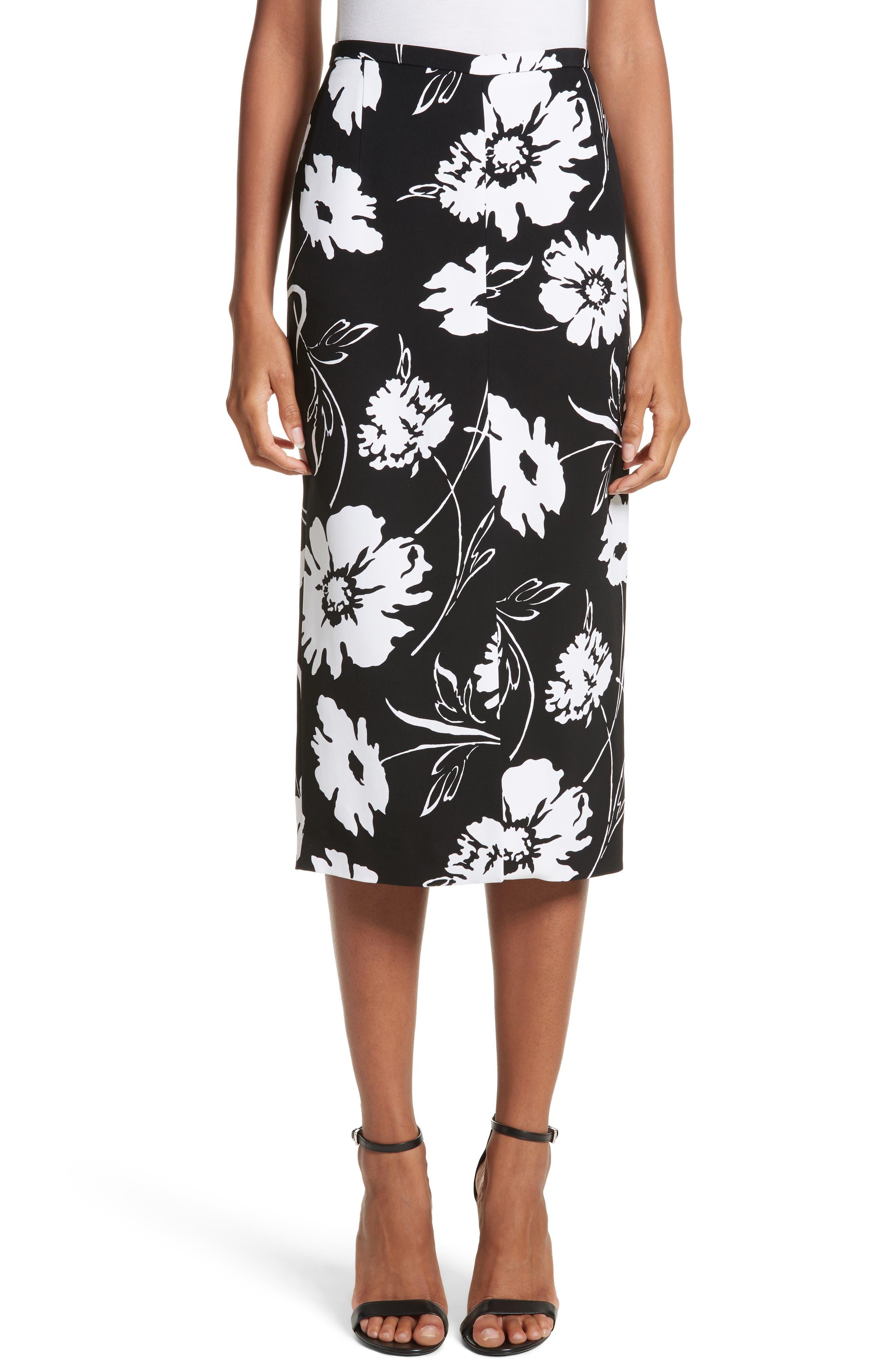Floral Print Pencil Skirt,                             Main thumbnail 1, color,                             Black / White