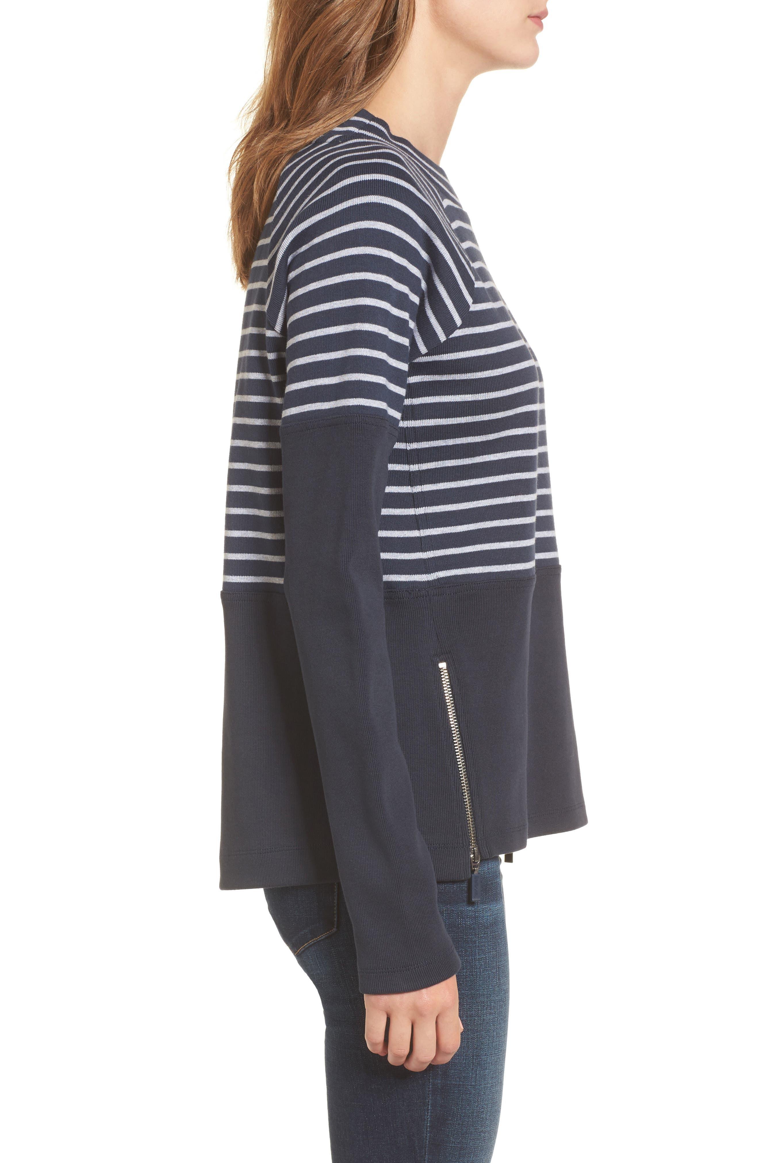 Seaburn Stripe Sweatshirt,                             Alternate thumbnail 3, color,                             Navy/ Grey