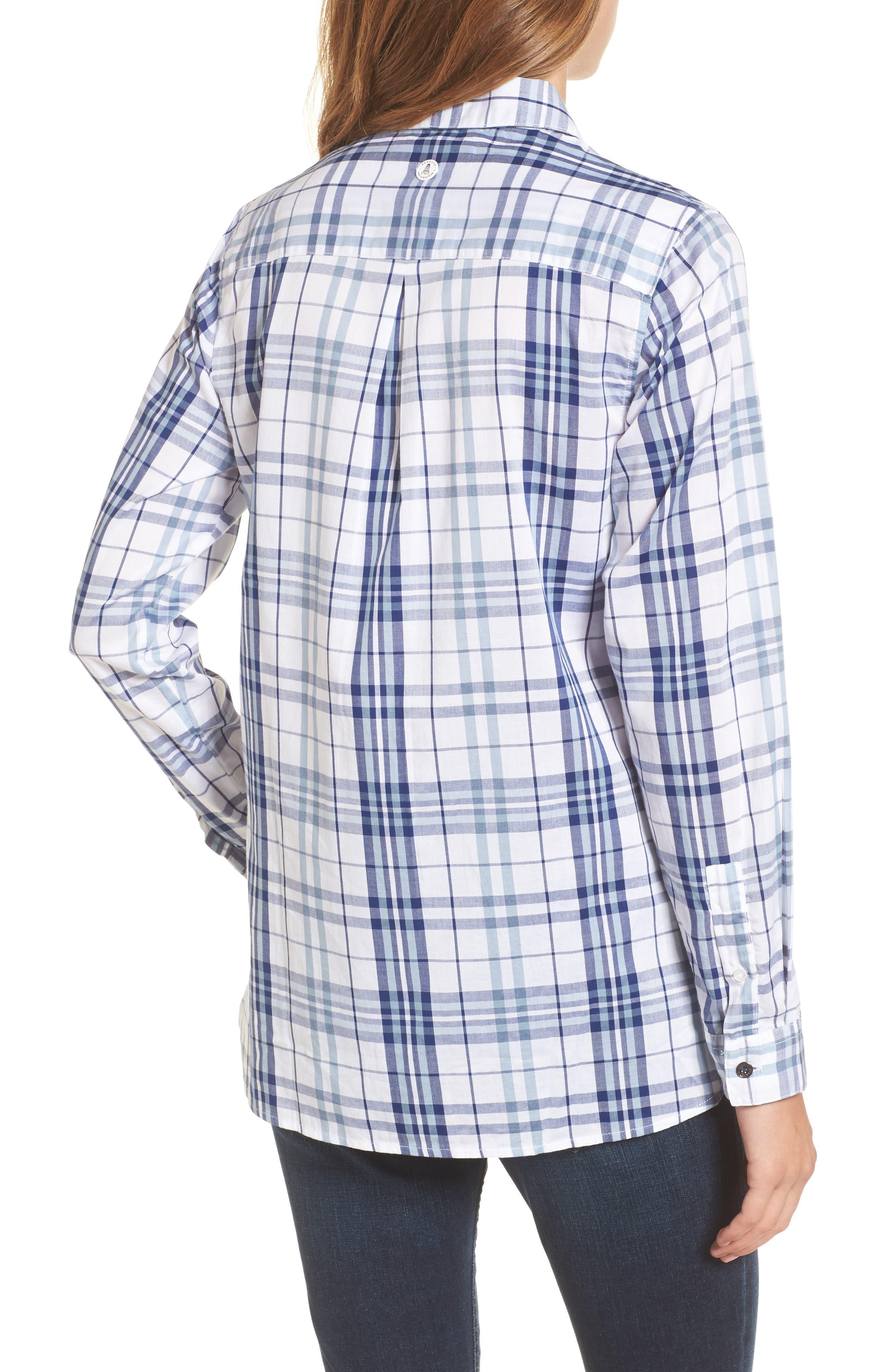 Selsey Plaid Shirt,                             Alternate thumbnail 2, color,                             White/ Coastal Blue