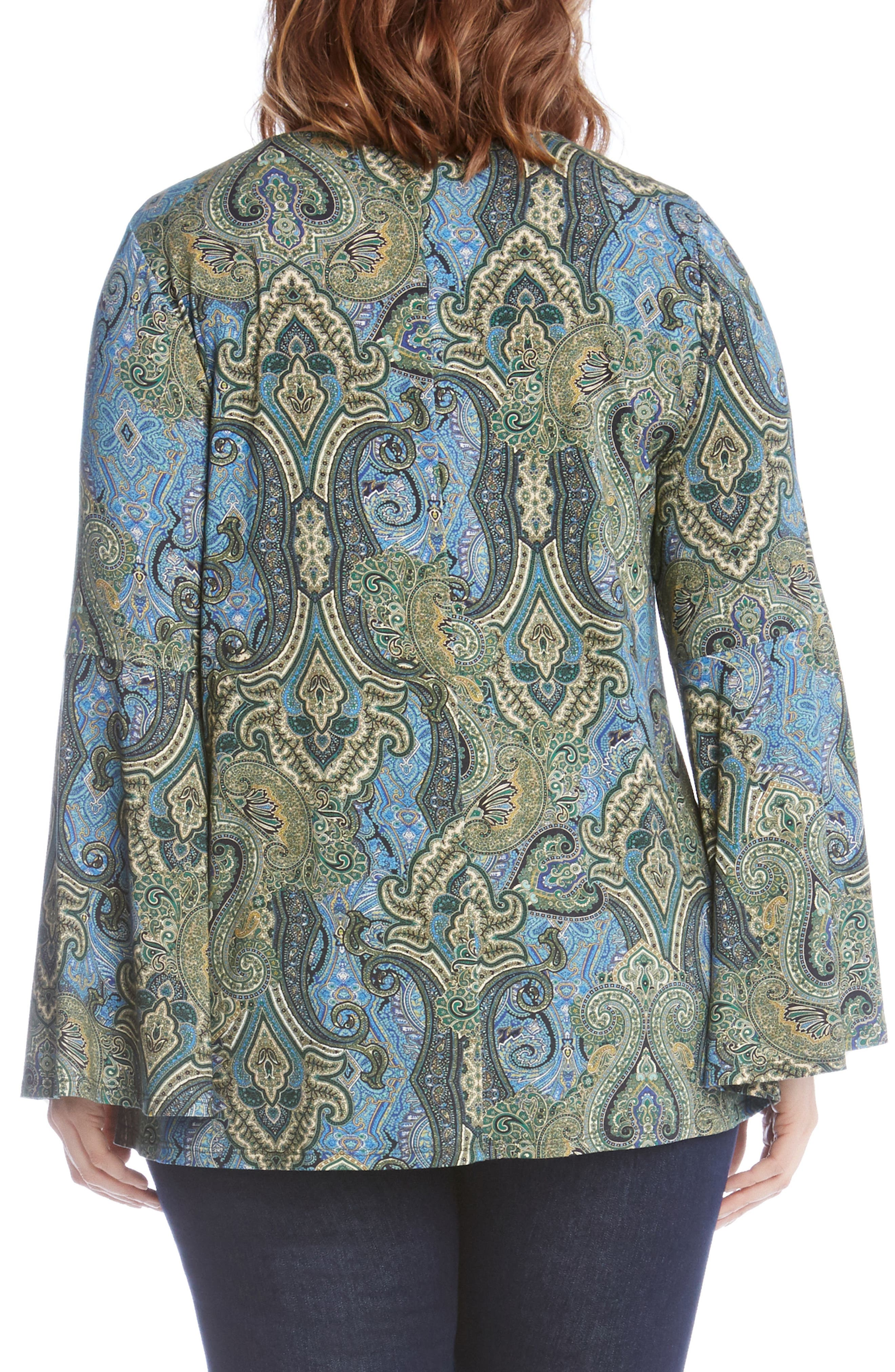 Bell Sleeve Paisley Top,                             Alternate thumbnail 2, color,                             Green