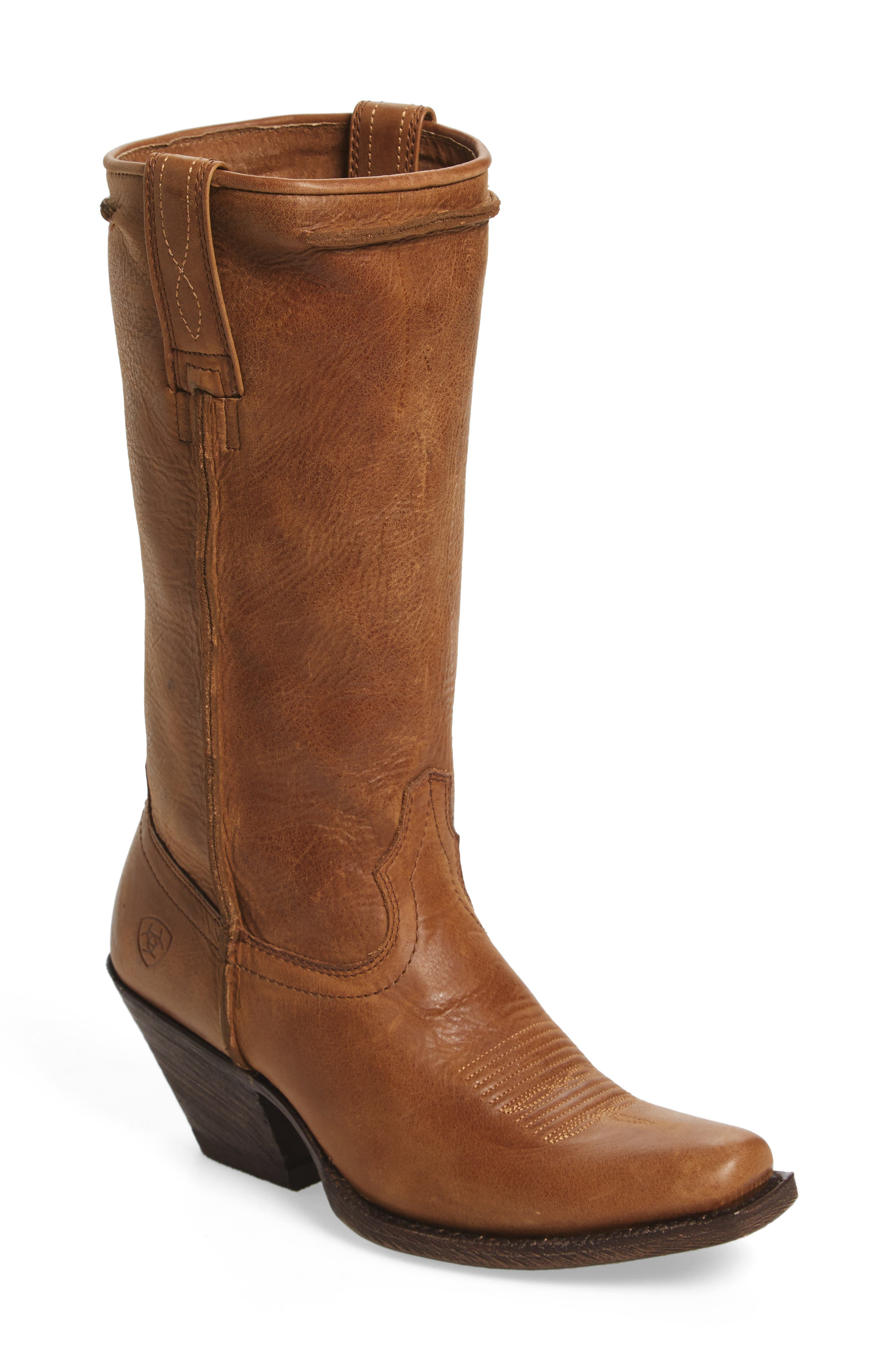 Rowan Stovepipe Western Boot,                         Main,                         color, Southern Tan Leather